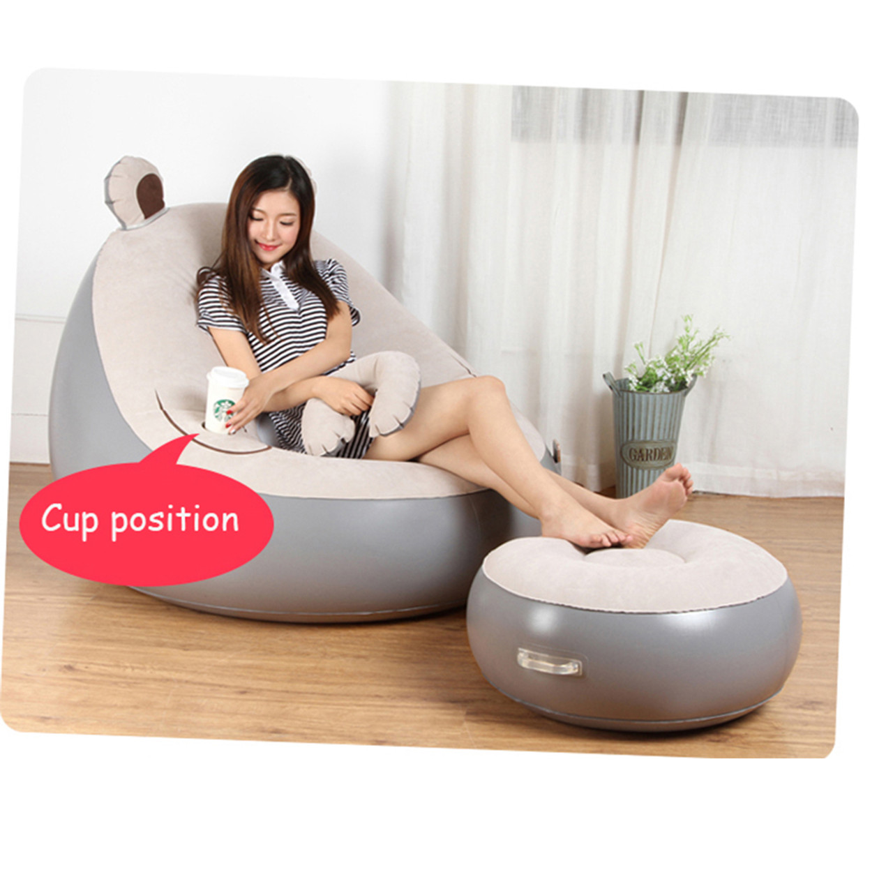 ... Cute Expression Inflatable Bean Bag Sofa Lounge Chair and Ottoman Air Couch Sillones Puff Lazy Sofa ...  sc 1 st  OnshopDeals.Com & Cute Expression Inflatable Bean Bag Sofa Lounge Chair and Ottoman ...