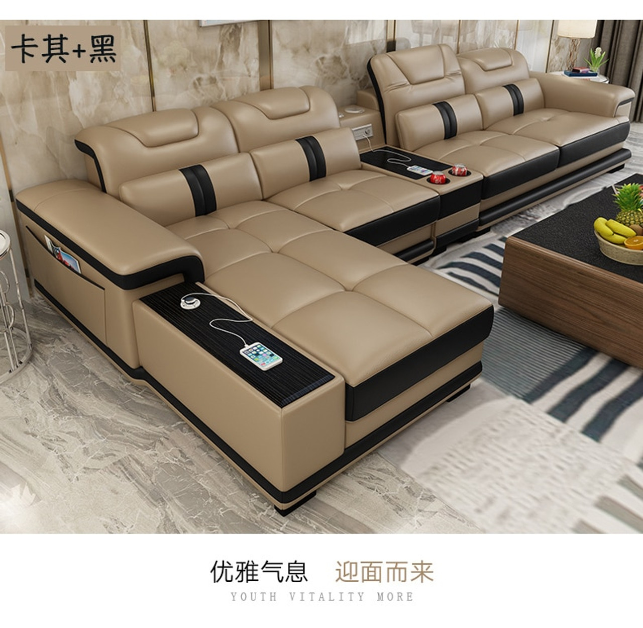 Living Room Sofa set corner sofa speaker real genuine cow leather sectional  sofas