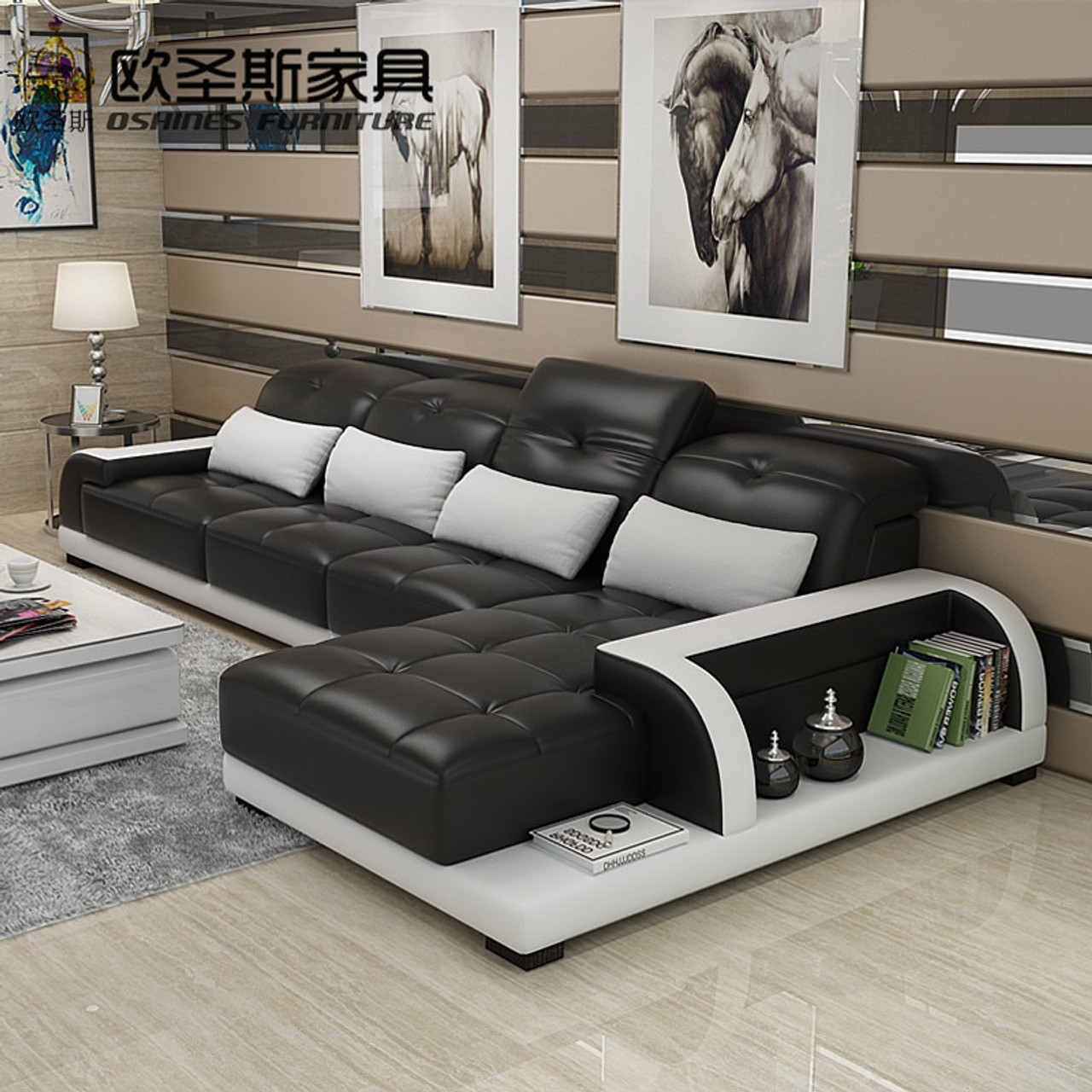 Barcelona White Modern Set Furniture Room L Shaped Sofa Living And Design Soft Black Cheers Cow Leather Big Stitching Sectional 80wkXnOP