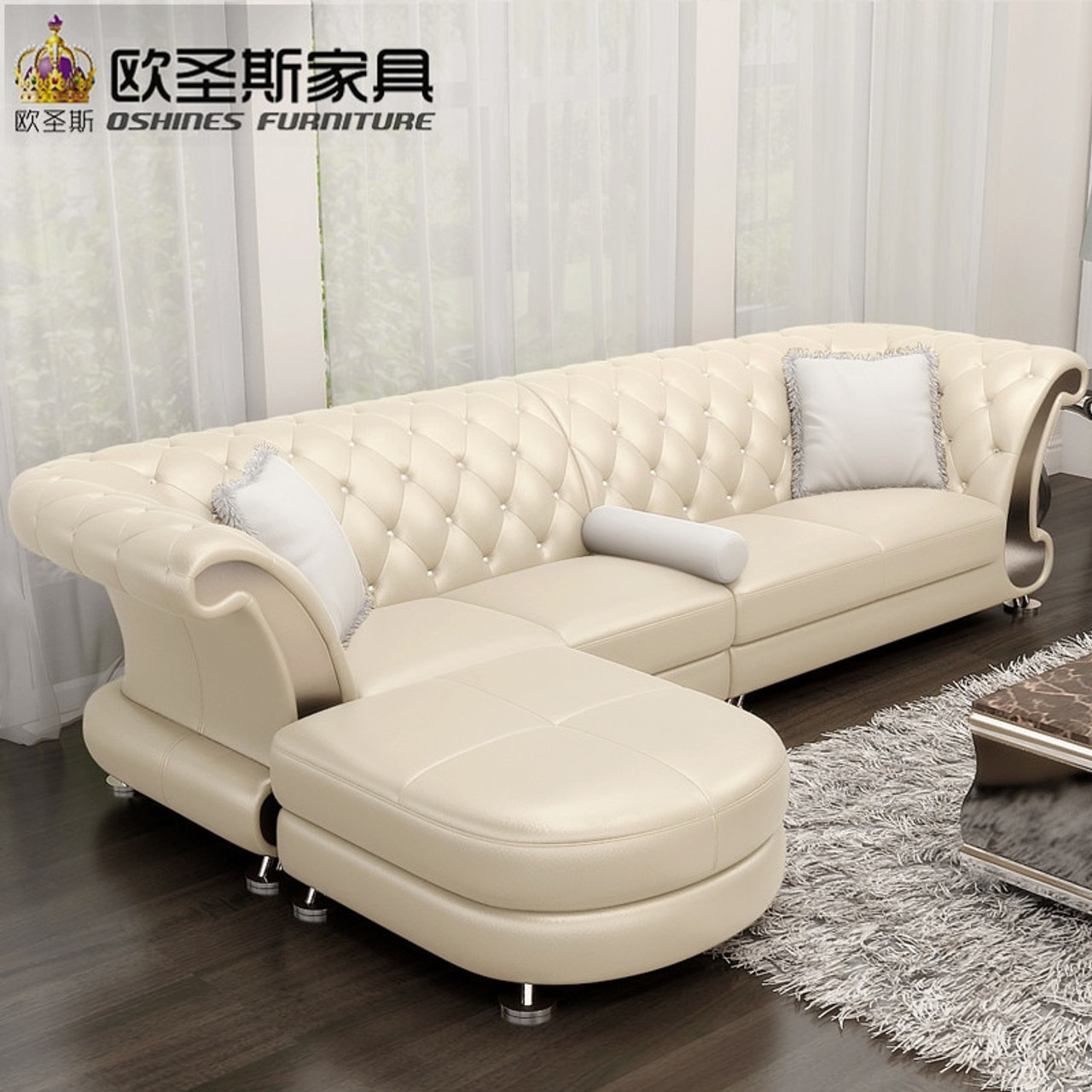 L Shaped Post Modern Italy Genuine Real Leather Sectional