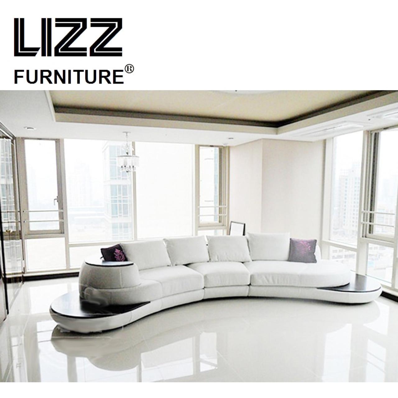 captivating shape sofa living room sets | Leather Furniture Arc C Shape Sectional Sofa Set For ...