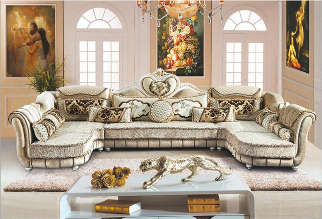 Living Room Furniture Modern Fabric Sofa European Sectional Sofa Set A1259