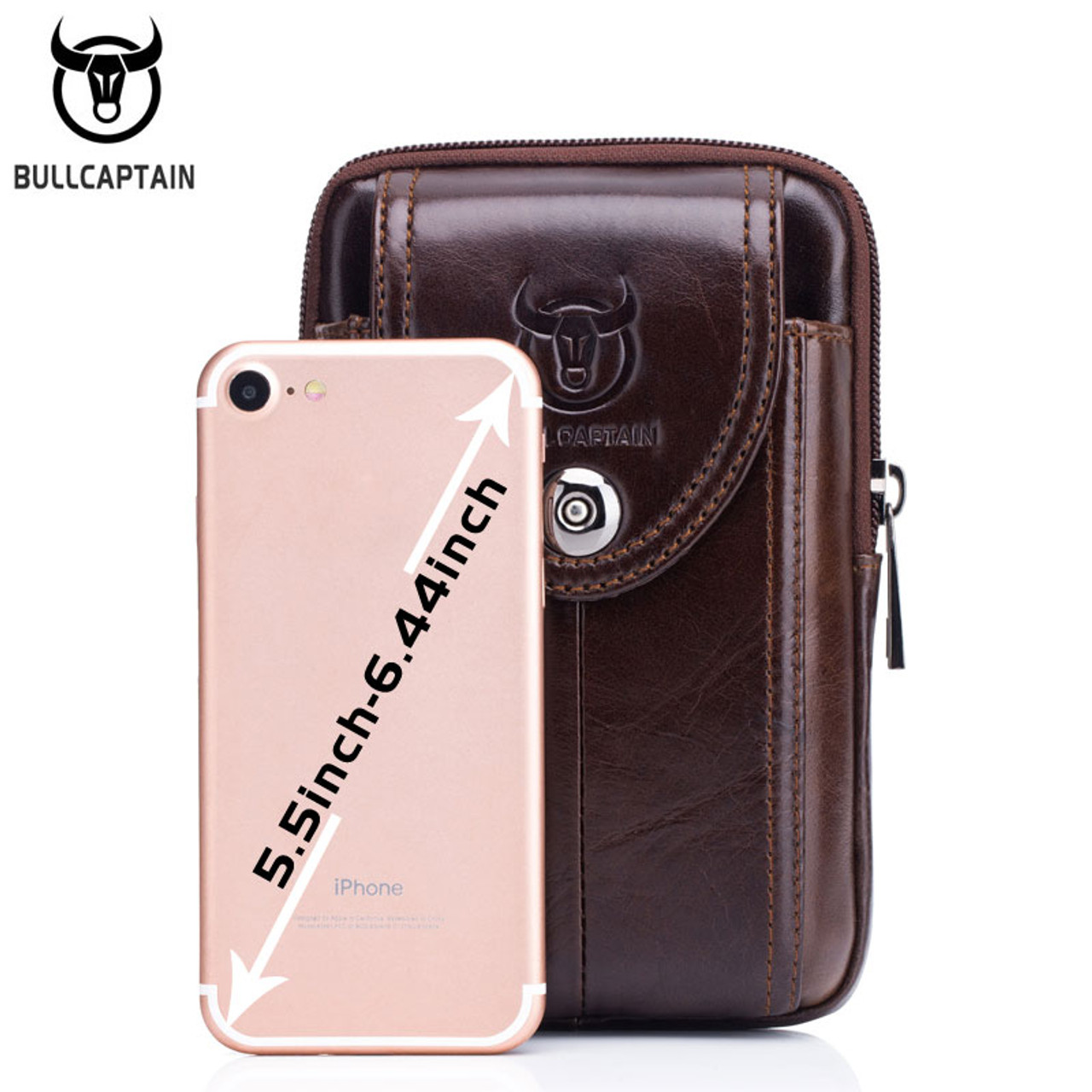 Mens Leather Bum Bag Fanny Pack Waist Belt Bag Pouch for Cellphone iPhone