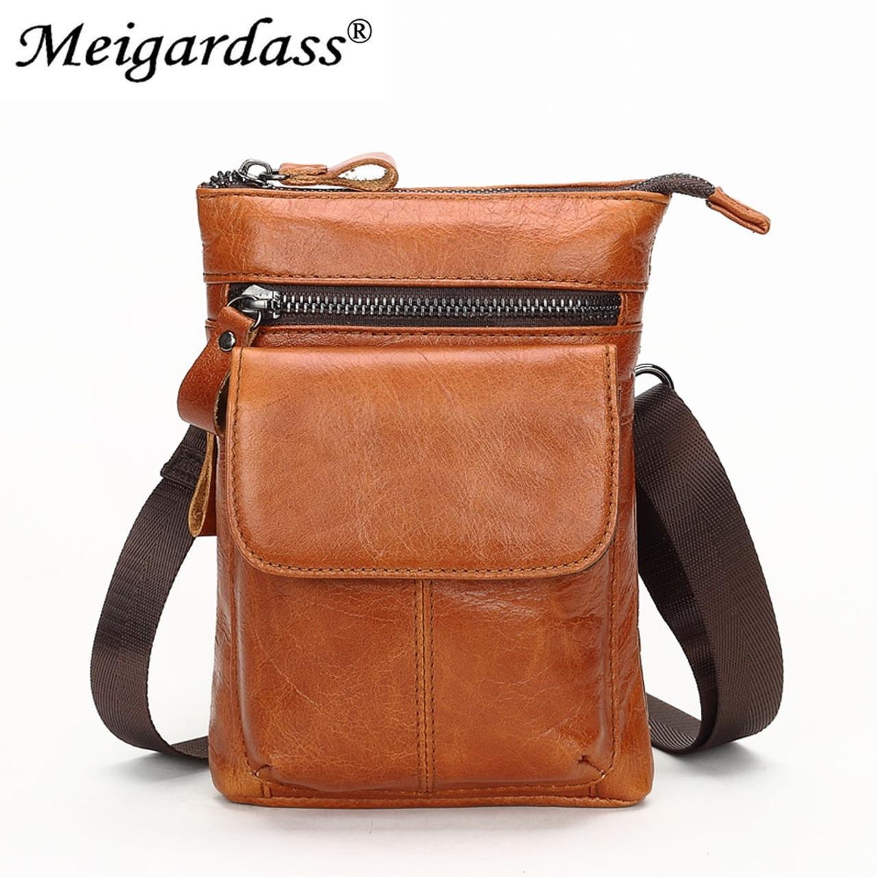 7155e71b041c6 MEIGARDASS Genuine Leather Men s Belt Waist Pack Small Shoulder Crossbody Bags  Men Bum Waist Bag Hip ...