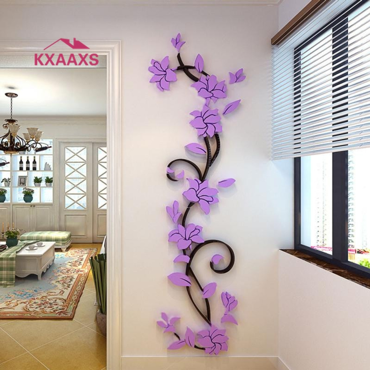 442a85f202 Vine Wall stickers home decor large paper flowers living room bedroom wall  decor sticker on the ...