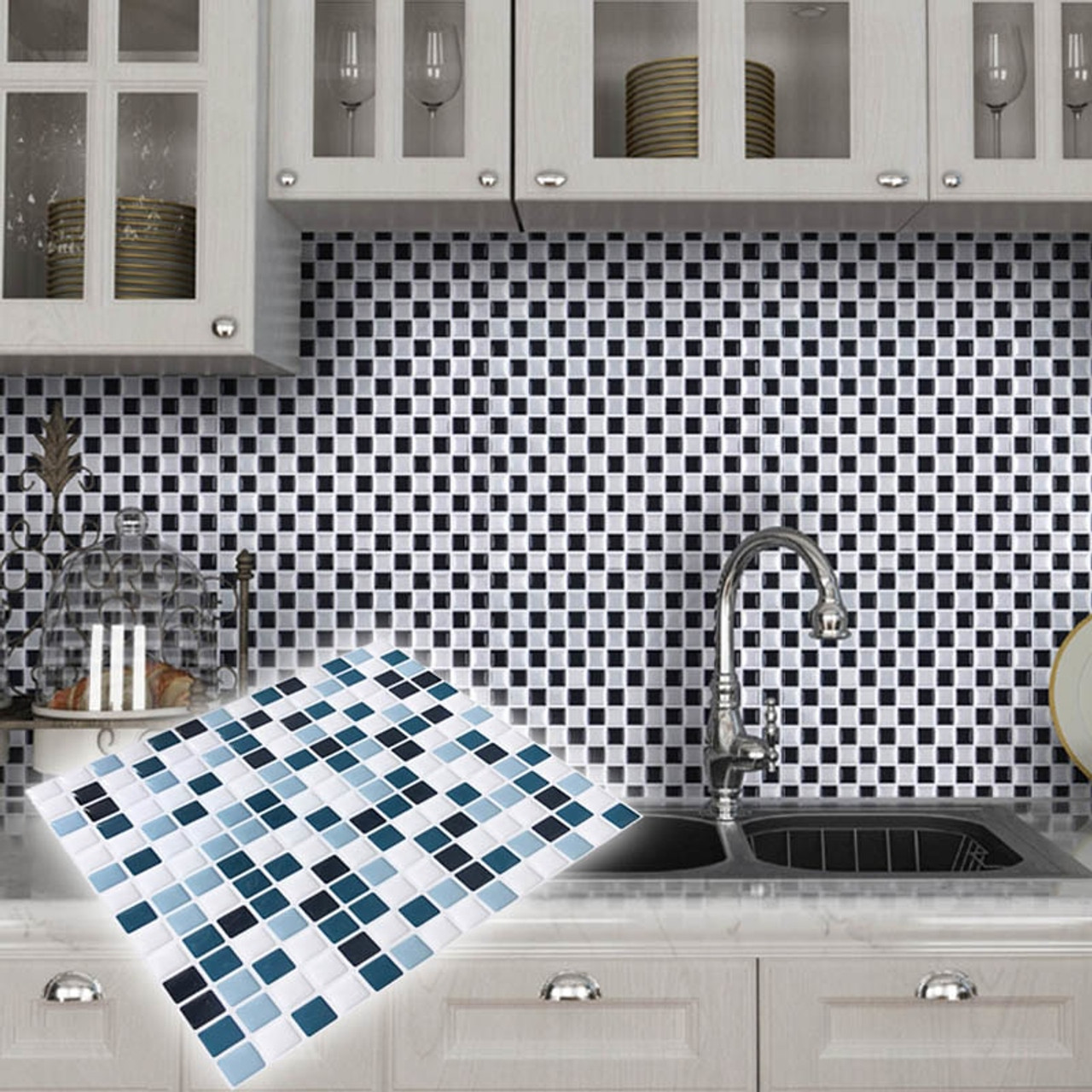 Diy Mosaic Tile Kitchen Wallpaper 3d Wall Stickers Home Decor Waterproof Pvc Bathroom Decorative Self Adhesive Kitchen Stickers Onshopdeals Com