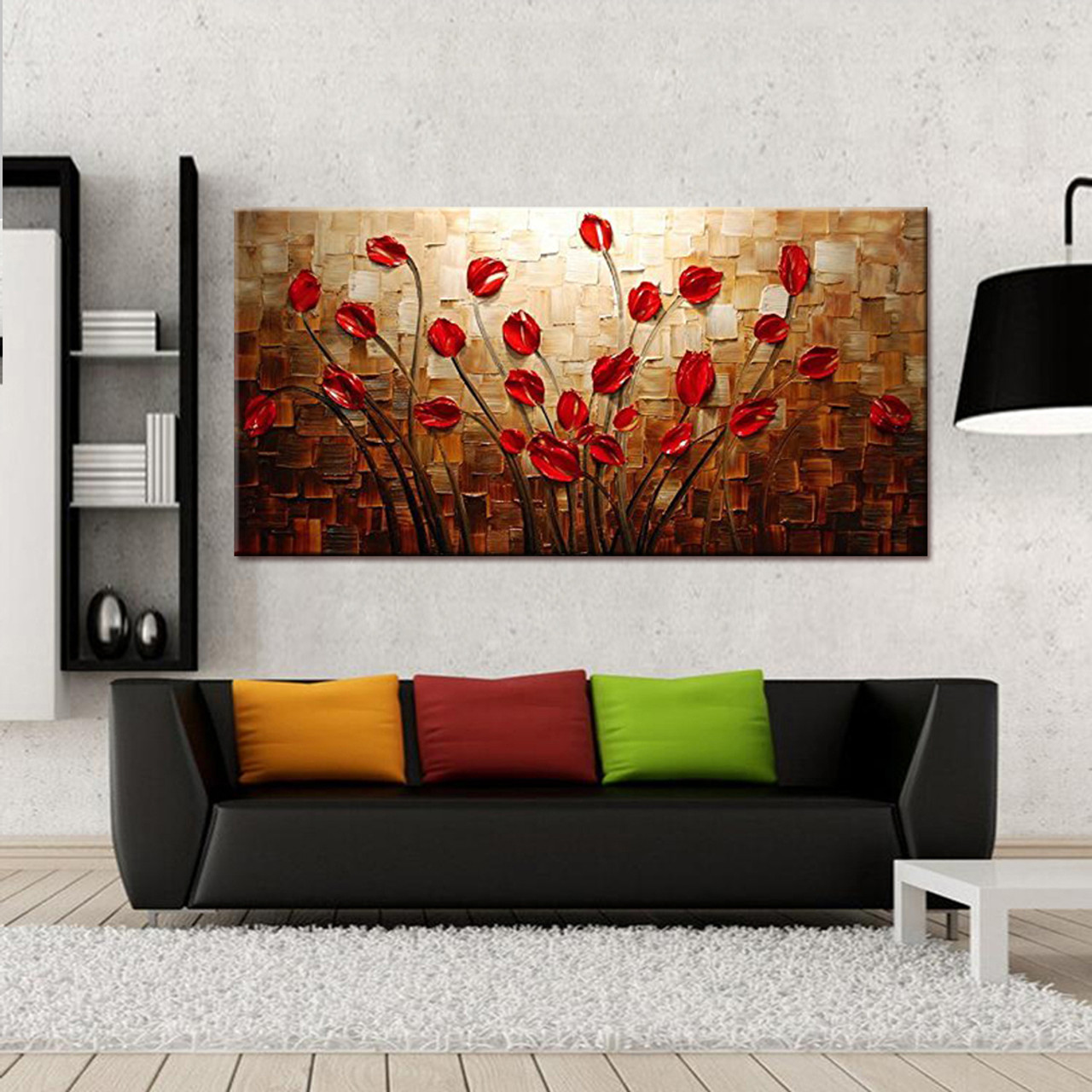 100 hand painted textured palette knife red flower oil painting abstract modern canvas wall art