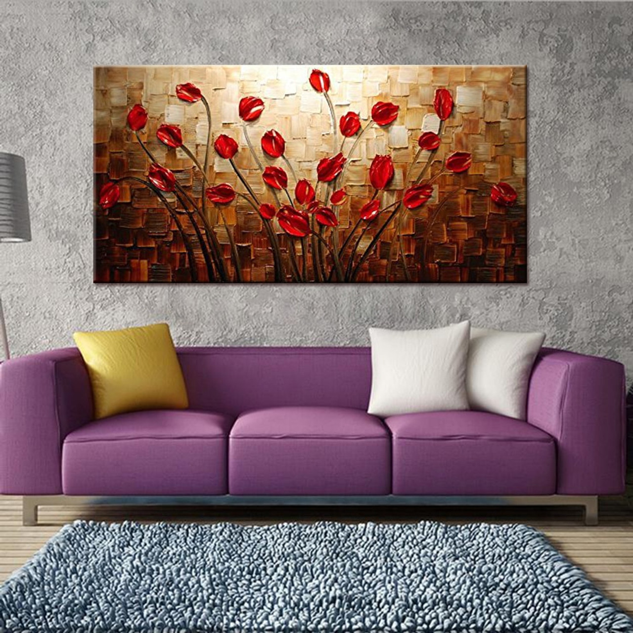100% Hand Painted Textured Palette Knife Red Flower Oil ...