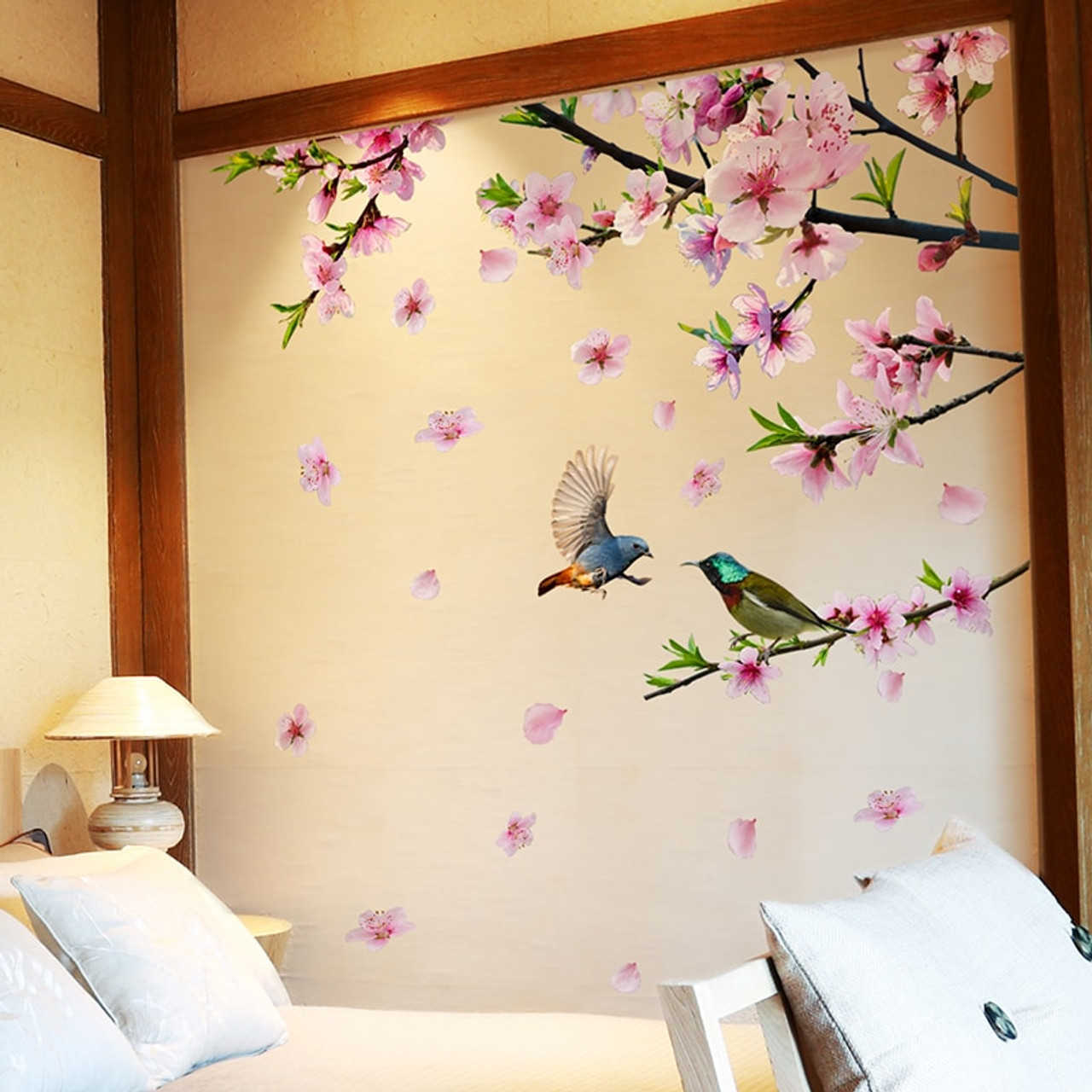 Shijuehezi Peach Blossom Tree Branch Wall Stickers Diy Flowers Birds Wall Decals For House Living Room Bedroom Decoration