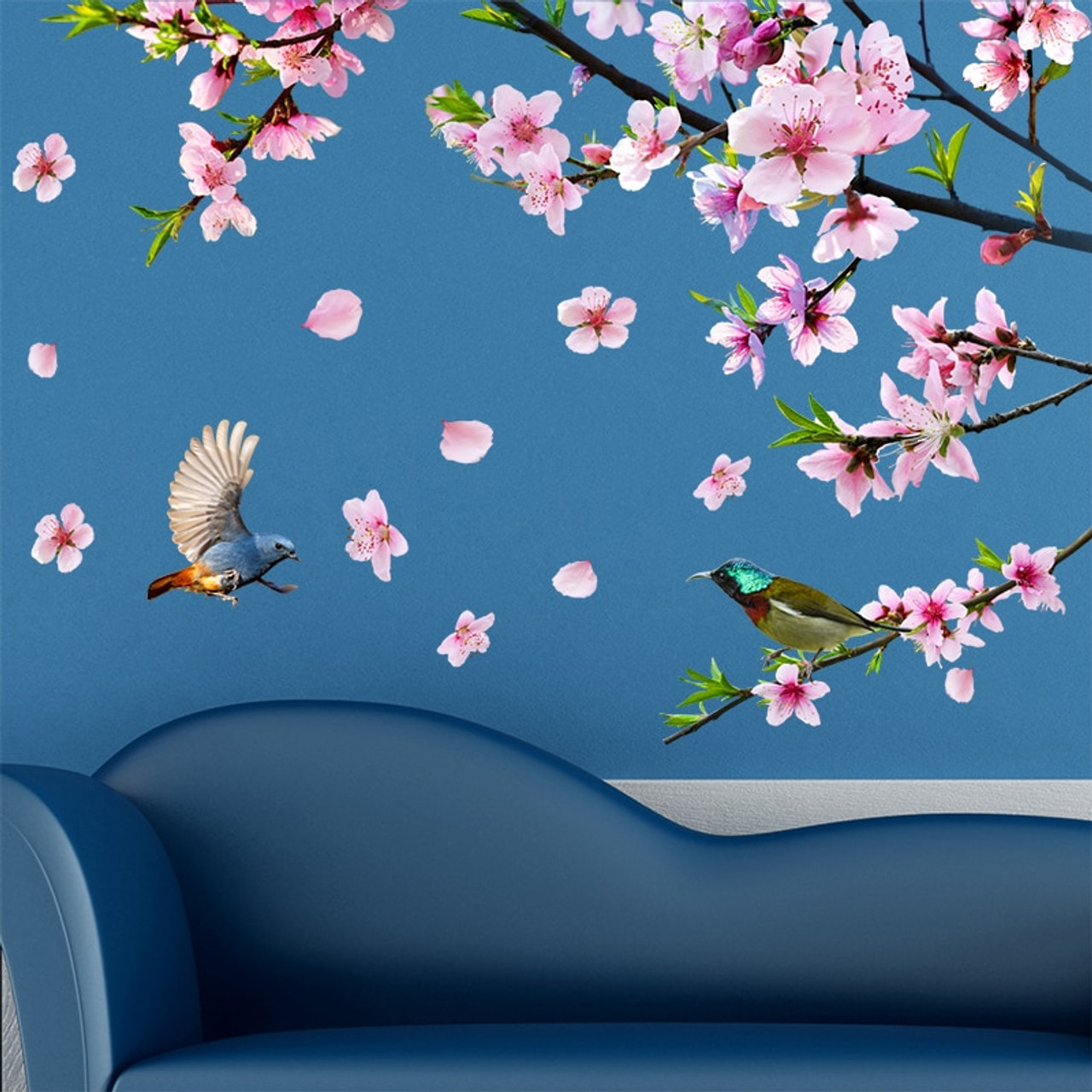 f67f201ba5 ... [SHIJUEHEZI] Peach Blossom Tree Branch Wall Stickers DIY Flowers Birds Wall  Decals for House ...