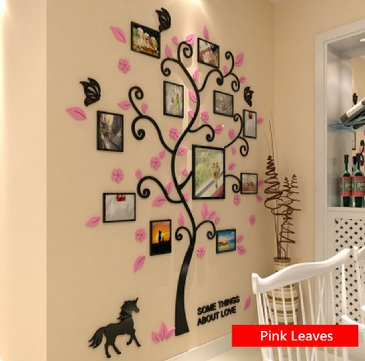 3 Size Colorful Multi-Pieces Tree Photo Frame 3D Acrylic Decoration Wall  Sticker DIY Wall Poster Home Decor Bedroom Wallstick