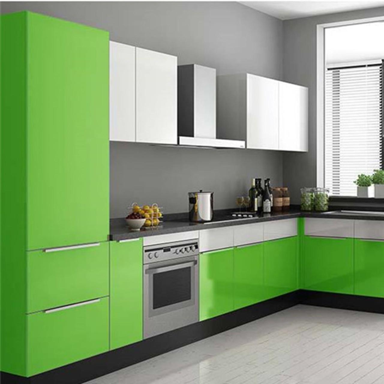 Waterproof Pvc Vinyl Solid Color Green Self Adhesive Wallpaper