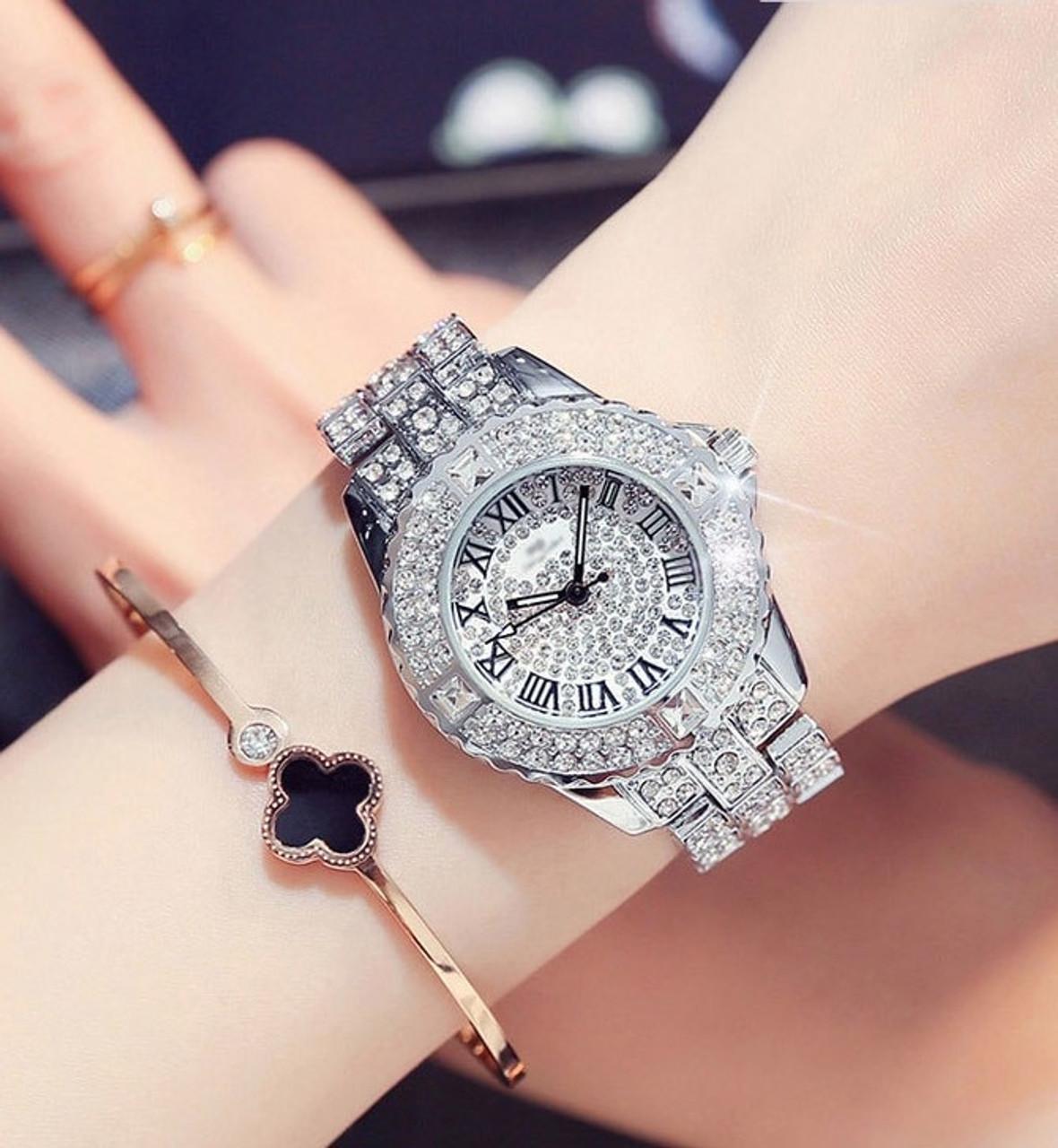 ... New Luxury Rhinestone Bracelet Watch Women Diamond Fashion Ladies Dress  Watch Brand Stainless Steel Crystal Wristwatch ... 5961230a6ea3