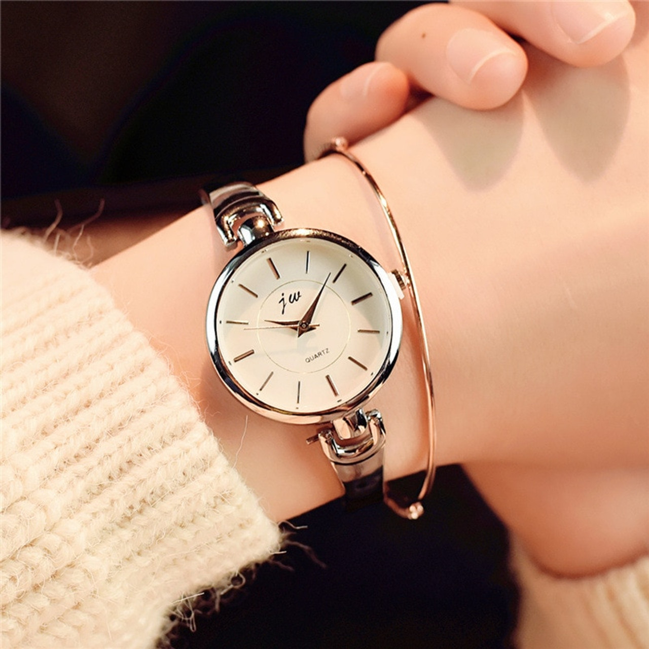 Simple silver women bracelet watches with stainless steel thin ...