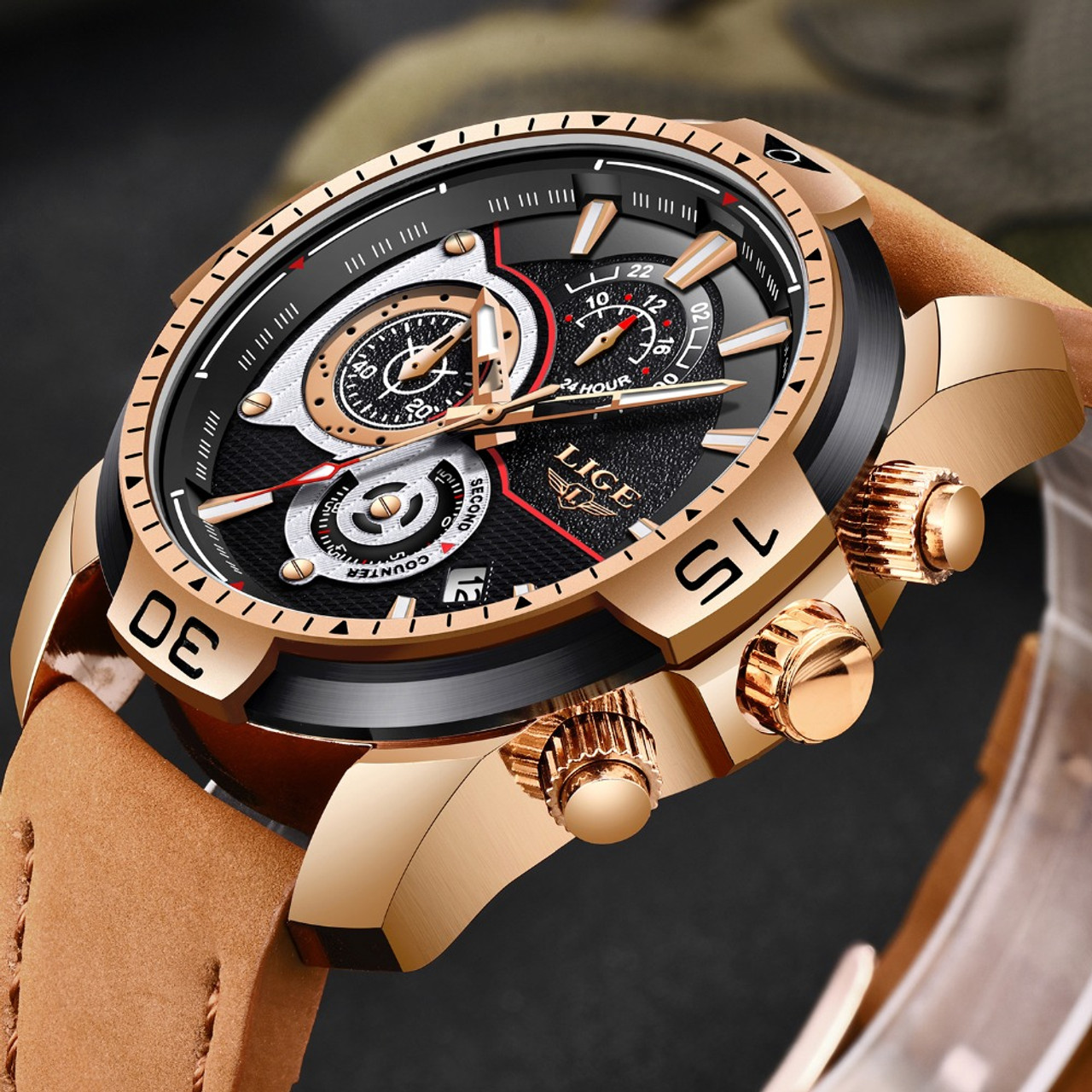 fb24c2ea424 LIGE Mens Watches Top Brand Luxury Casual Leather Quartz Clock Male Sport Waterproof  Watch Gift Gold ...