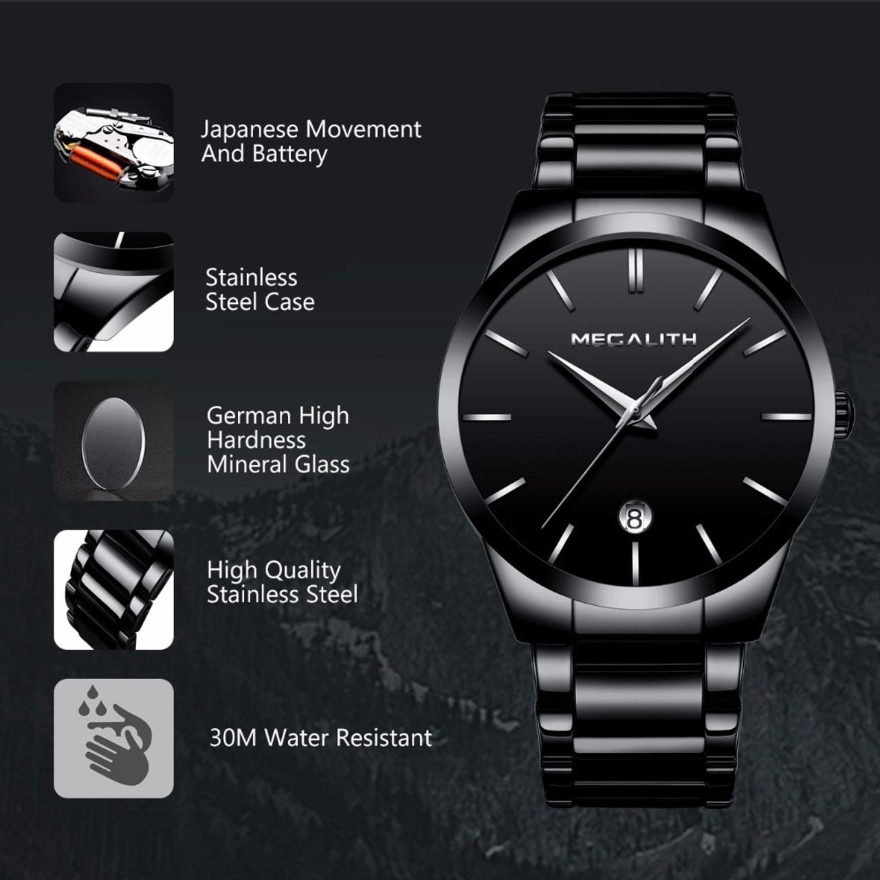 a39a855baa58 ... MEGALITH Men Watch Waterproof Date Calendar Analogue Wristwatches Mens  Business Casual Quartz Watches For Man Clock ...