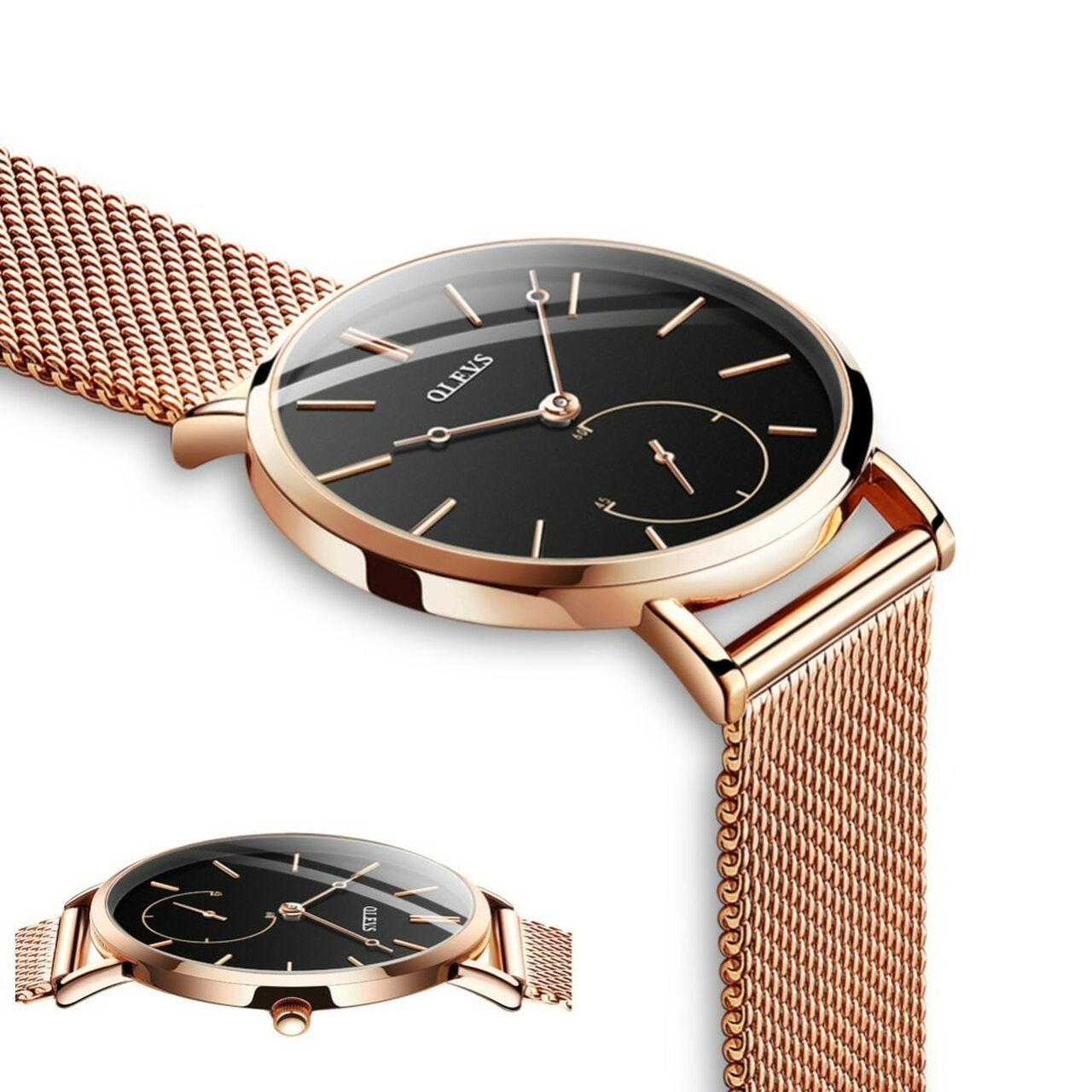 a42f409585e ... Reloj Mujer Fashion Wrist Quartz Watch Women Black Casual Ladies Dress  Watches Rose Gold Mesh Stainless ...