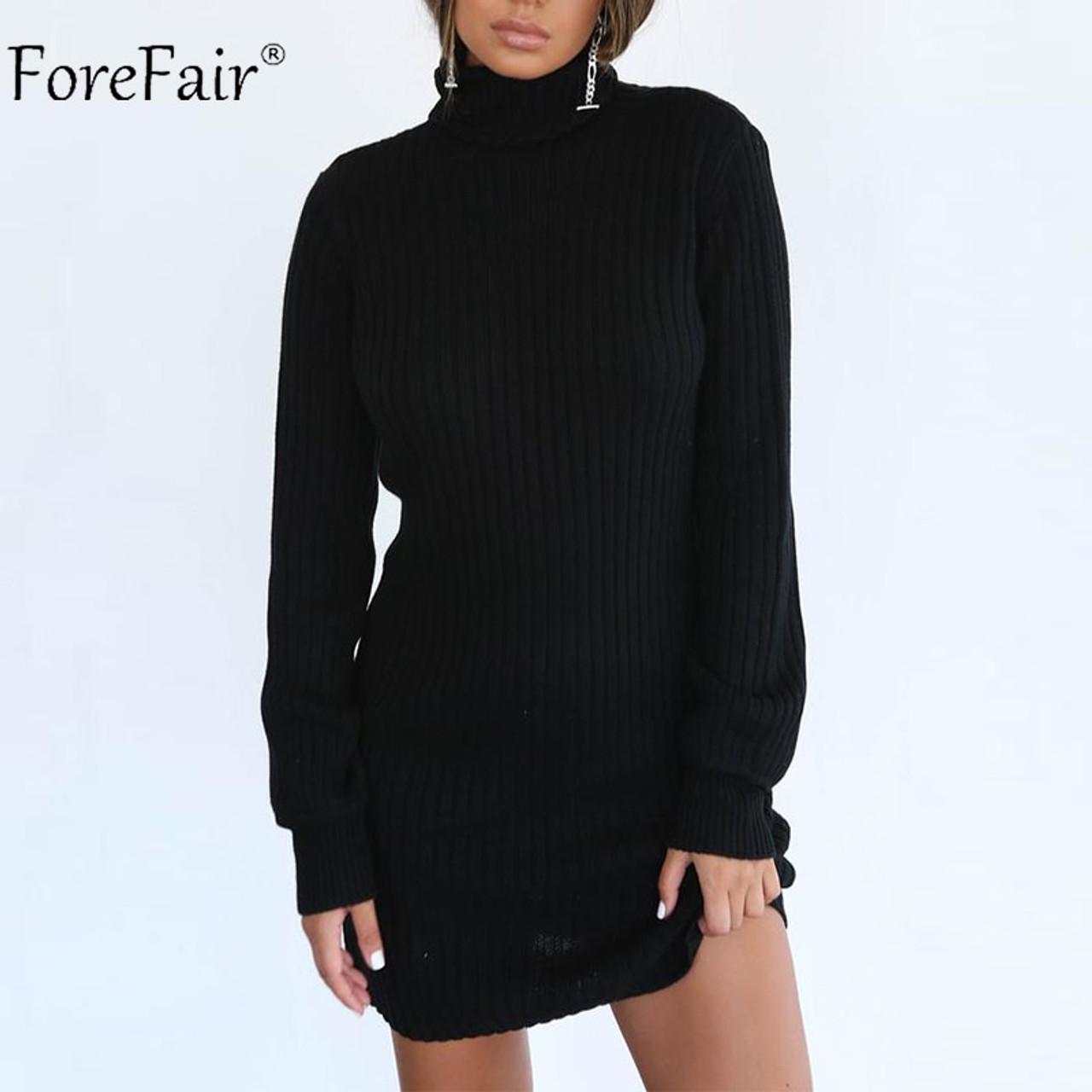 de646183528 ... Forefair Autumn Knitted Sweater Dress Women 2018 Ladies Turtleneck Sexy  Dress Noodles Female Long Sleeve Winter ...