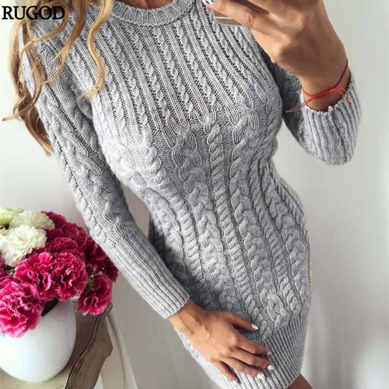 bcc758781f7 RUGOD 2018 New Autumn Winter Warm Sweater Dress Women Sexy Slim Bodycon  Dress Female O neck ...