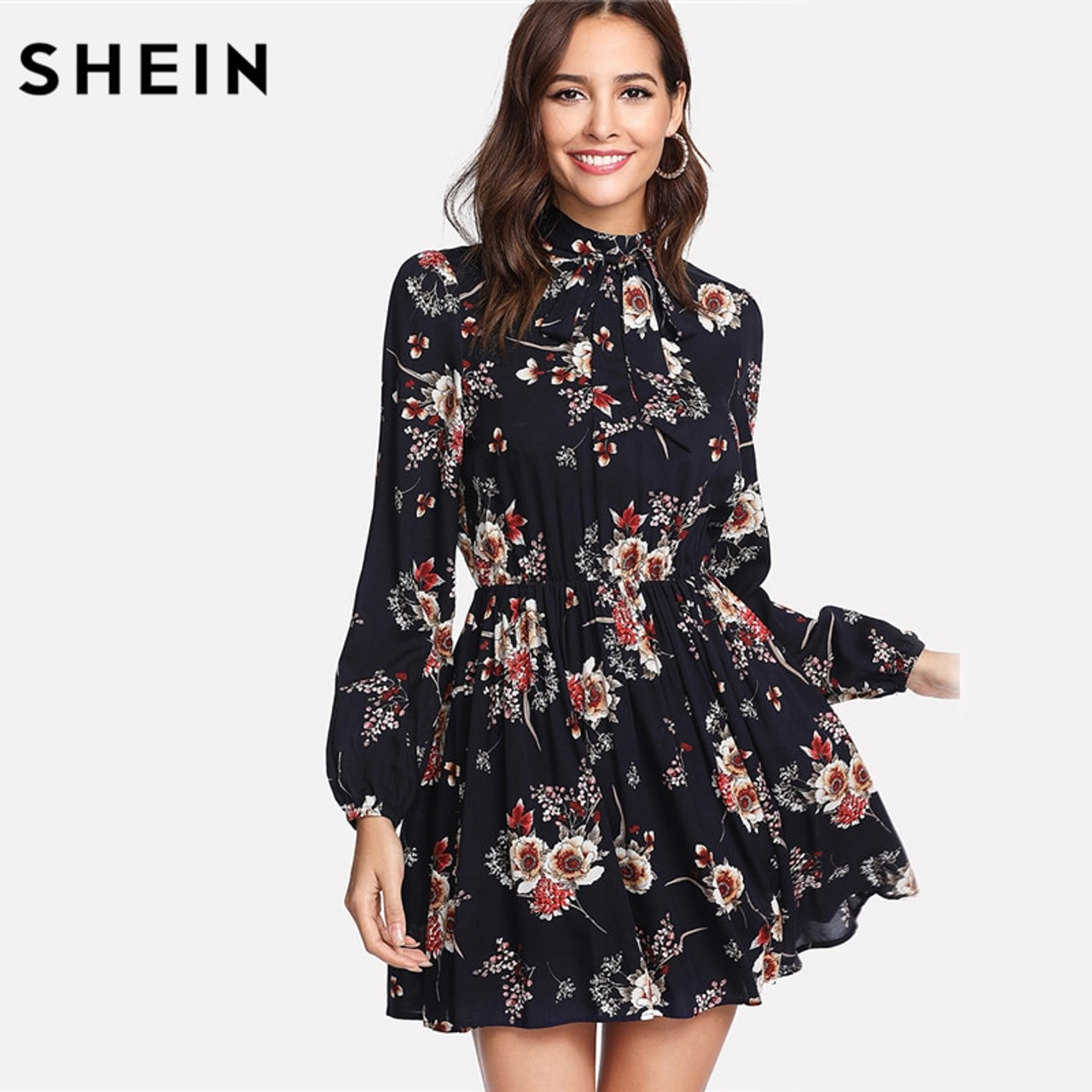 61f2f92083 SHEIN Autumn Floral Women Dresses Multicolor Elegant Long Sleeve High Waist  A Line Chic Dress Ladies ...