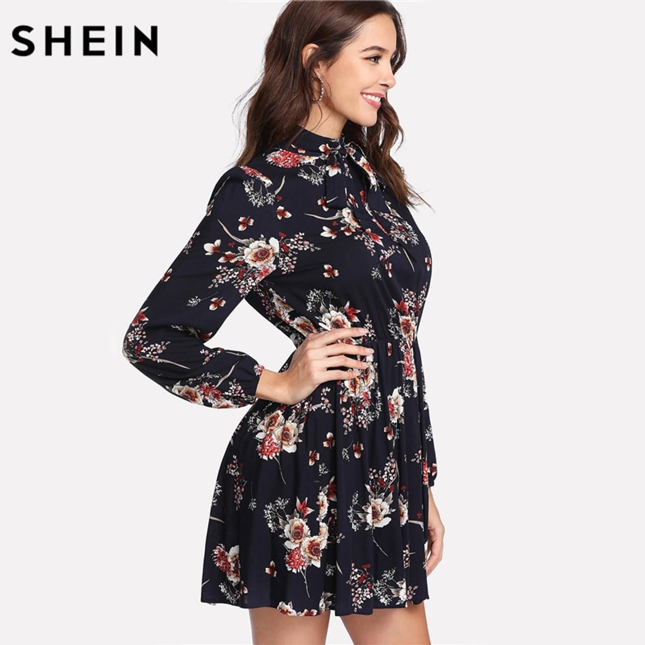 6741314387de ... SHEIN Autumn Floral Women Dresses Multicolor Elegant Long Sleeve High  Waist A Line Chic Dress Ladies ...