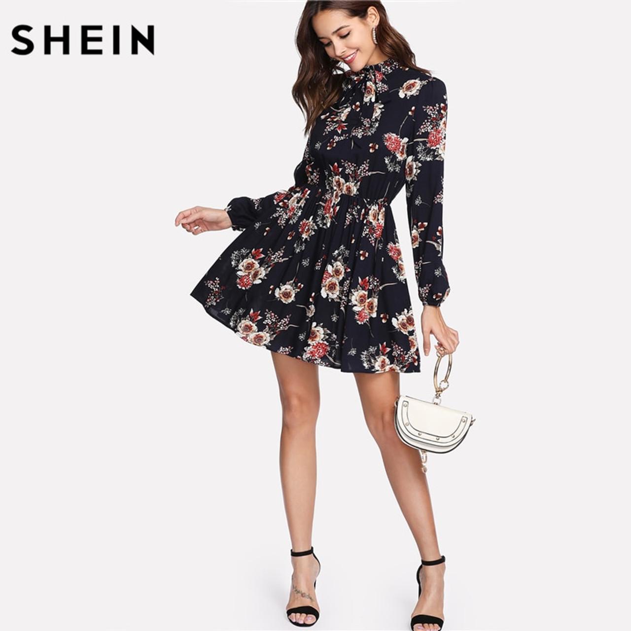 3bfd1a38c395 ... SHEIN Autumn Floral Women Dresses Multicolor Elegant Long Sleeve High  Waist A Line Chic Dress Ladies ...