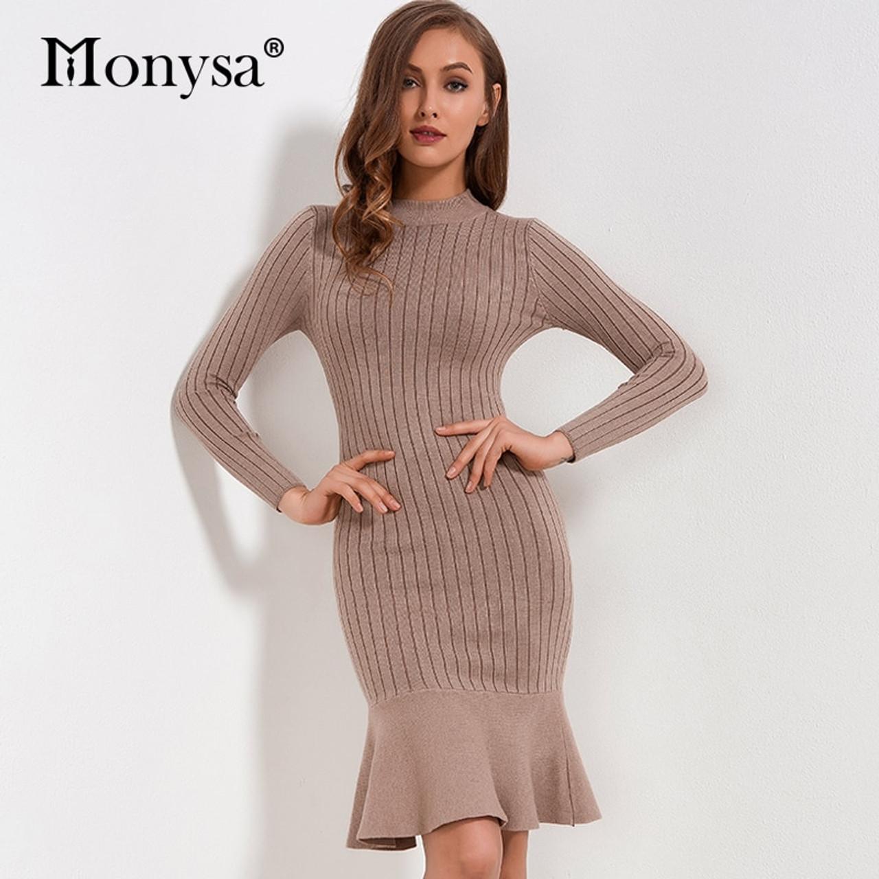 Ruffle Sweater Dress Autumn Winter 2018 New Arrivals Long Sleeve Bodycon  Dresses Ladies Knee Length Knitted Sweater Dress Women - OnshopDeals.Com 882b16efab44