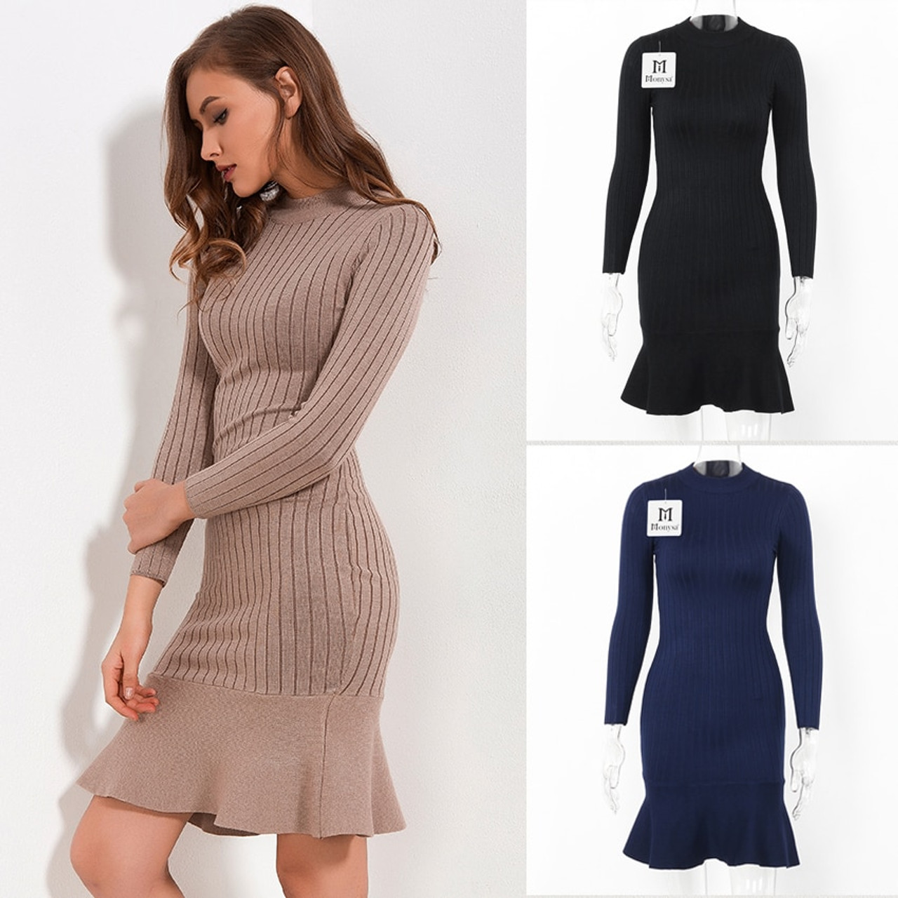 ab3068798be9c ... Ruffle Sweater Dress Autumn Winter 2018 New Arrivals Long Sleeve  Bodycon Dresses Ladies Knee Length Knitted ...