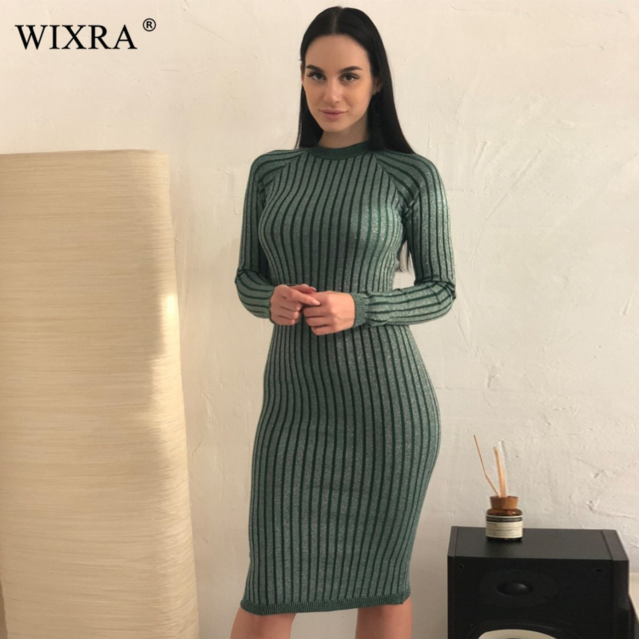 86528e9c4e1 ... Wixra Warm and Charm Women Sweater Dress 2017 Fall Winter Long Sexy  Lurex Bodycon Dresses Elastic ...