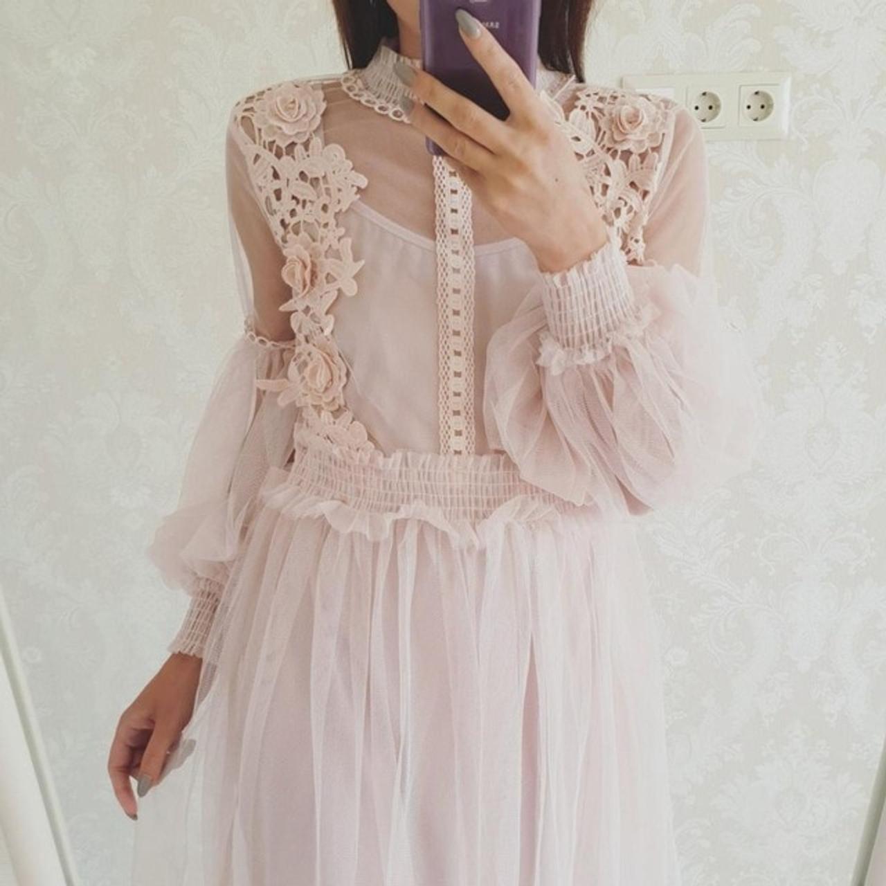 f918125bd6 Stand-Neck Long-Sleeved Party Dresses Women Sweet Mesh Streetwear Mid-Calf  Dress Female 2018 Summer Lace Dress Vestidos