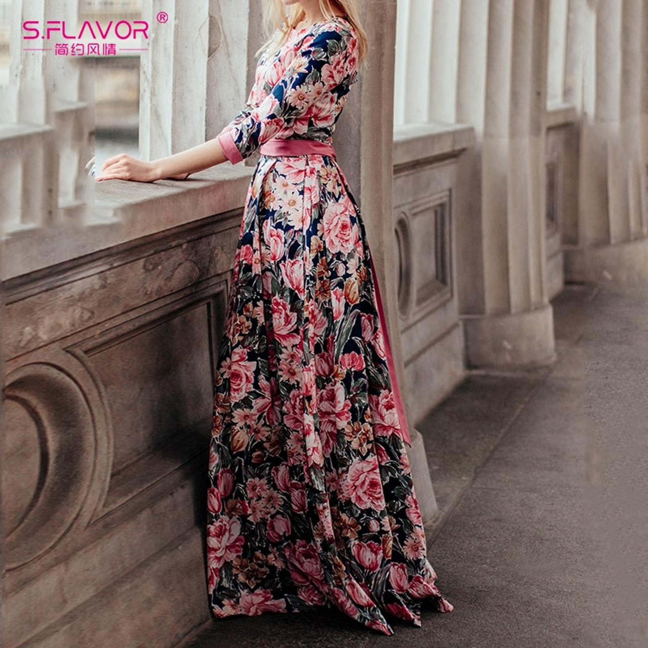56971cb6356 ... S.FLAVOR Bohemian printing long dress O-neck three quarter sleeve big  hem women ...
