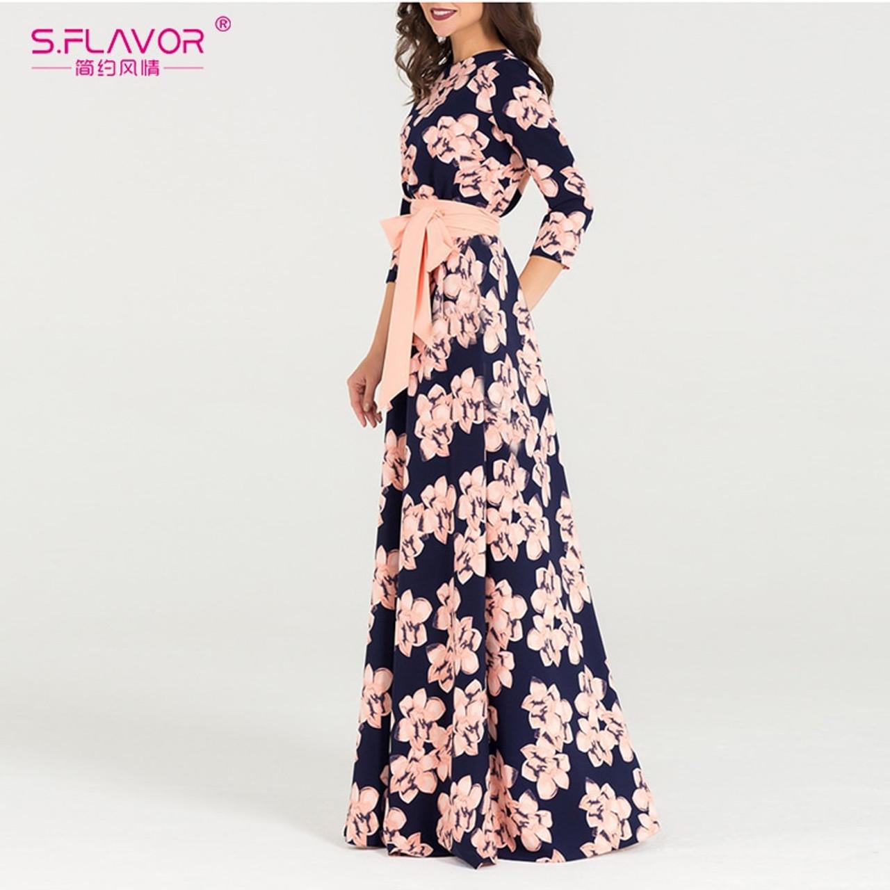 c42ce226b16 ... S.FLAVOR Women printing autumn dress Elegant O-neck loose style long  party dress ...