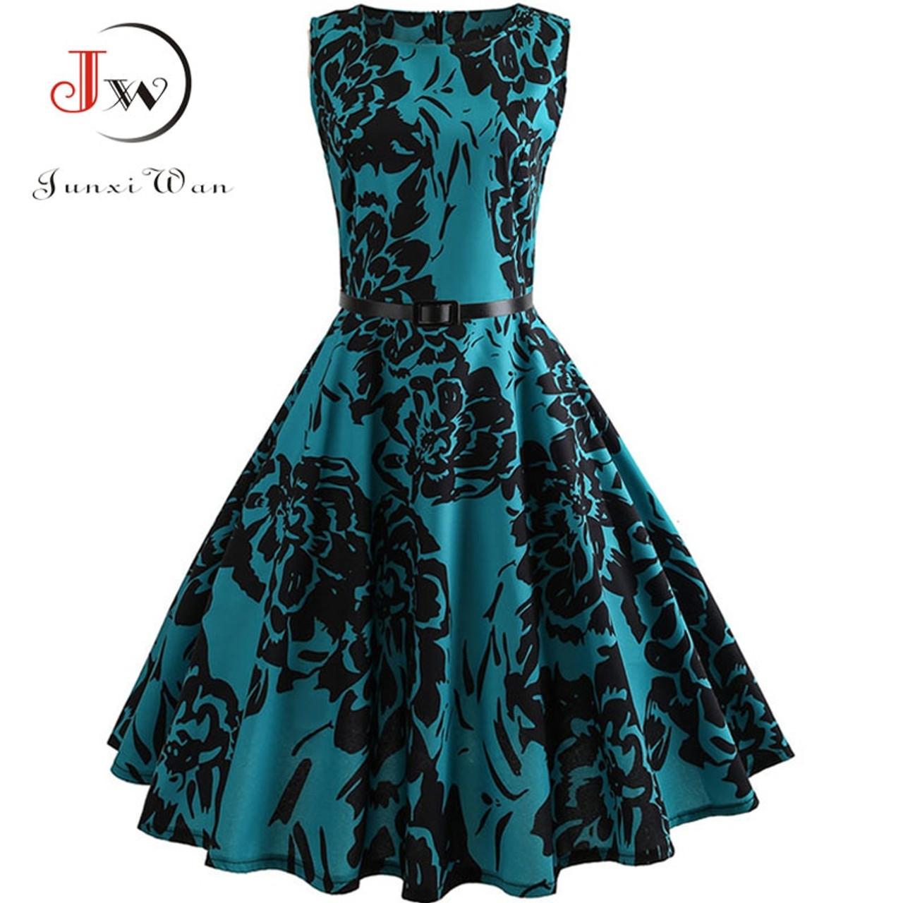 bd3807b859d5c Floral Print Summer Dress Women 2018 Vintage Elegant Swing Rockabilly Party  Dresses Plus Size Casual Midi Tunic Runway Dress