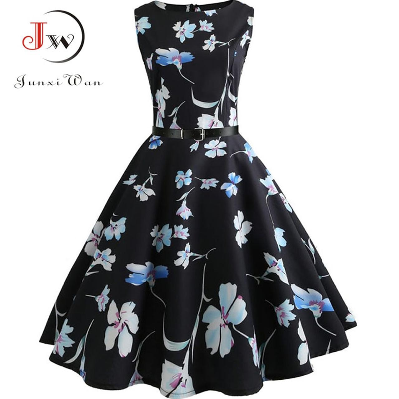 70b559bf8ac ... Floral Print Summer Dress Women 2018 Vintage Elegant Swing Rockabilly  Party Dresses Plus Size Casual Midi ...