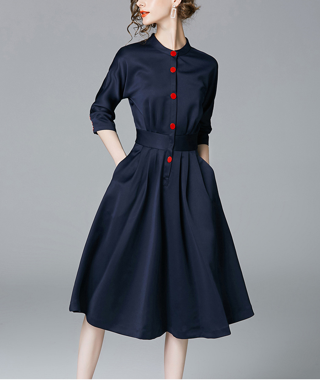 35cb2b3f2c5 ... New Spring Autumn Vintage Dresses Women Slim 3 4 Sleeve A Line Office Wear  Dress ...