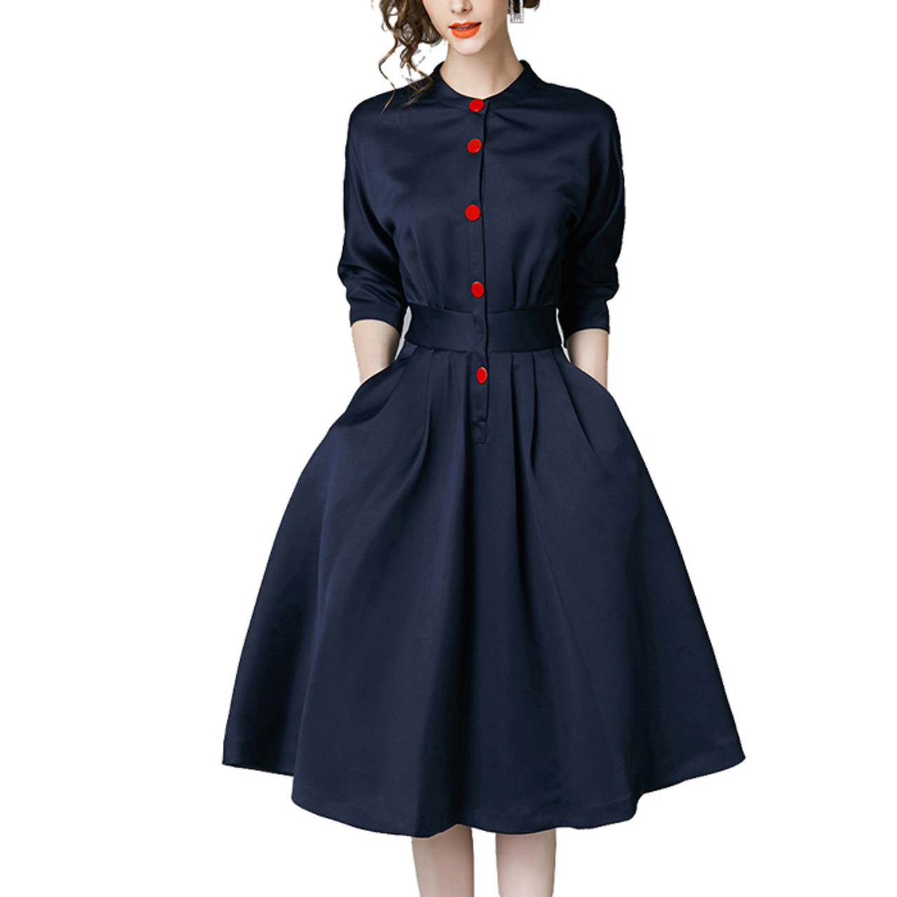 c808ff8835 New Spring Autumn Vintage Dresses Women Slim 3/4 Sleeve A Line Office Wear  Dress Elegant Laides Ol Work Business Dresses