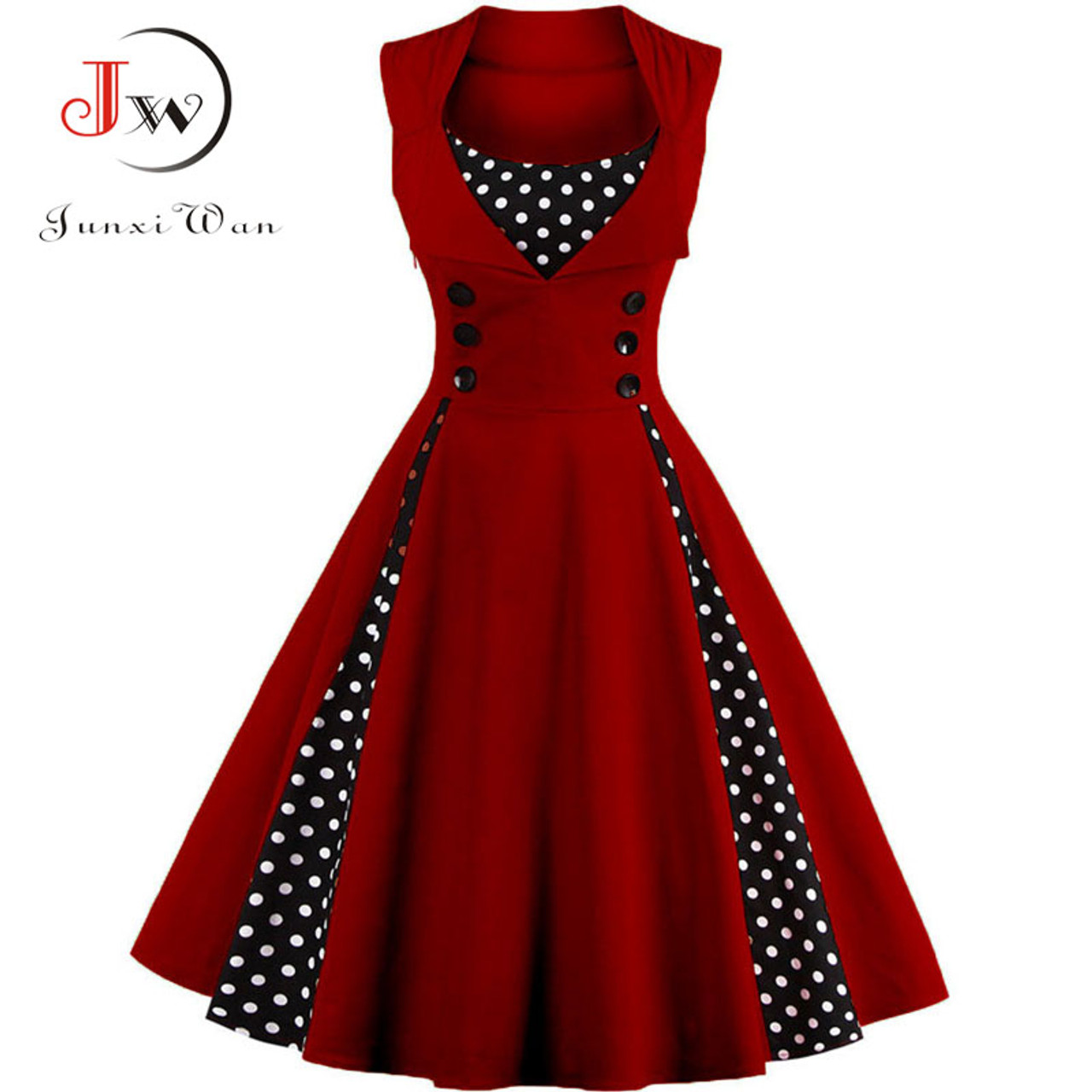 b7a43bbb096a7 S-4XL Women Robe Retro 2018 Vintage Dress 50s 60s Rockabilly Dot Swing Pin  Up Summer Party Dresses Elegant Tunic Vestidos Casual
