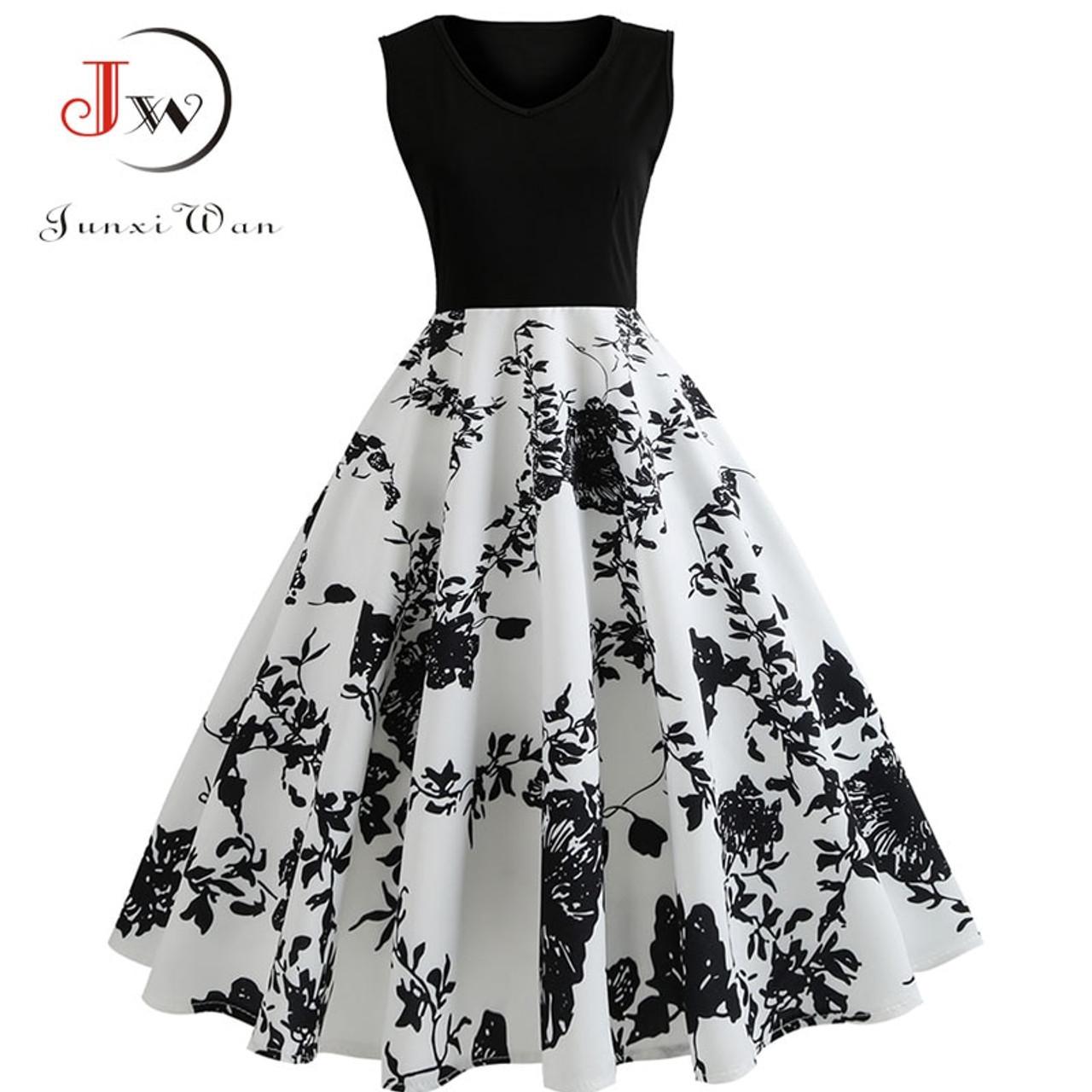 V Neck Sexy 2018 Summer Dress Women Floral Print Patchwork Vintage Dress  Hepburn 50s Elegant Party ... fc92d43495ed