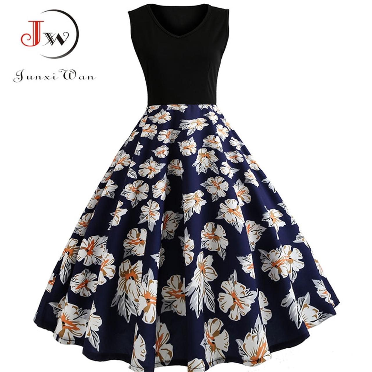 ... V Neck Sexy 2018 Summer Dress Women Floral Print Patchwork Vintage  Dress Hepburn 50s Elegant Party ... 32b8f1bc4458