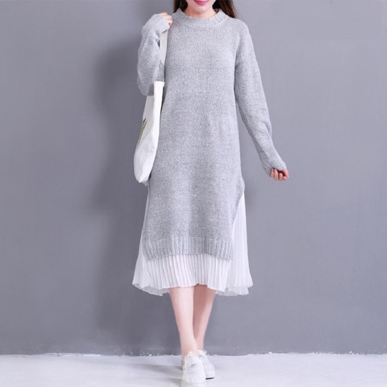 5fc303ac56a ... 2018 Spring Autumn Women Midi Dress Round Neck Knitted Chiffon  Patchwork Sweater Dress Casual Elegant Long ...