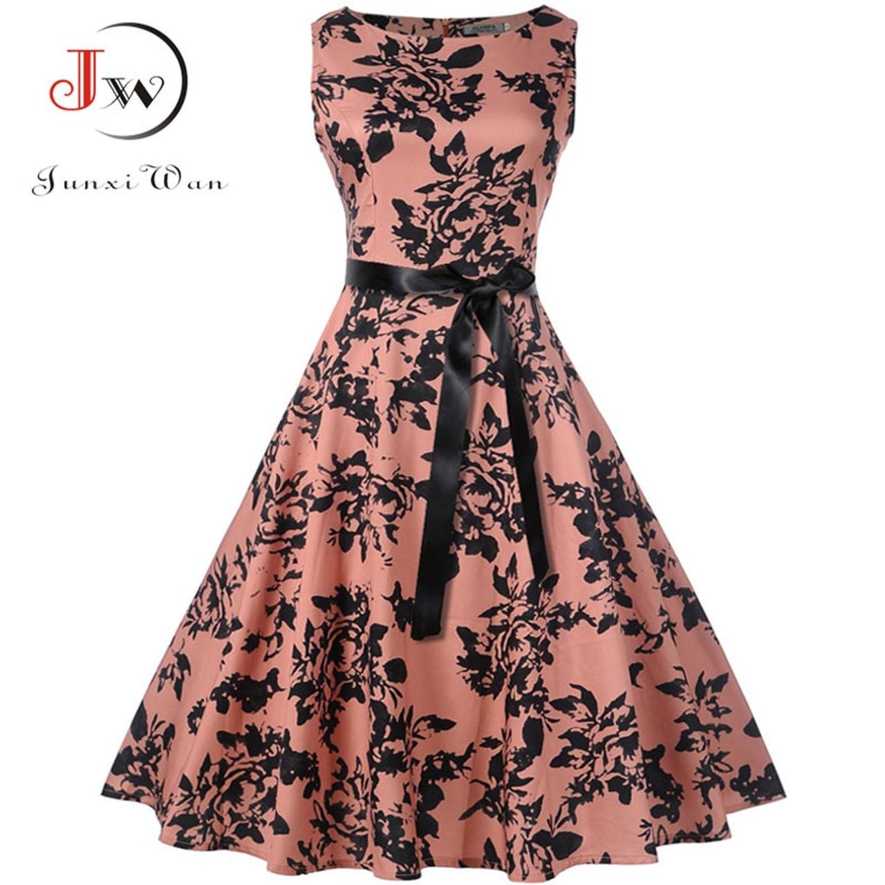 5ef7029fc Plus Size Summer Dress 2018 Women Vintage Rockabilly Dresses Jurken Floral  50s 60s Retro Big Swing ...