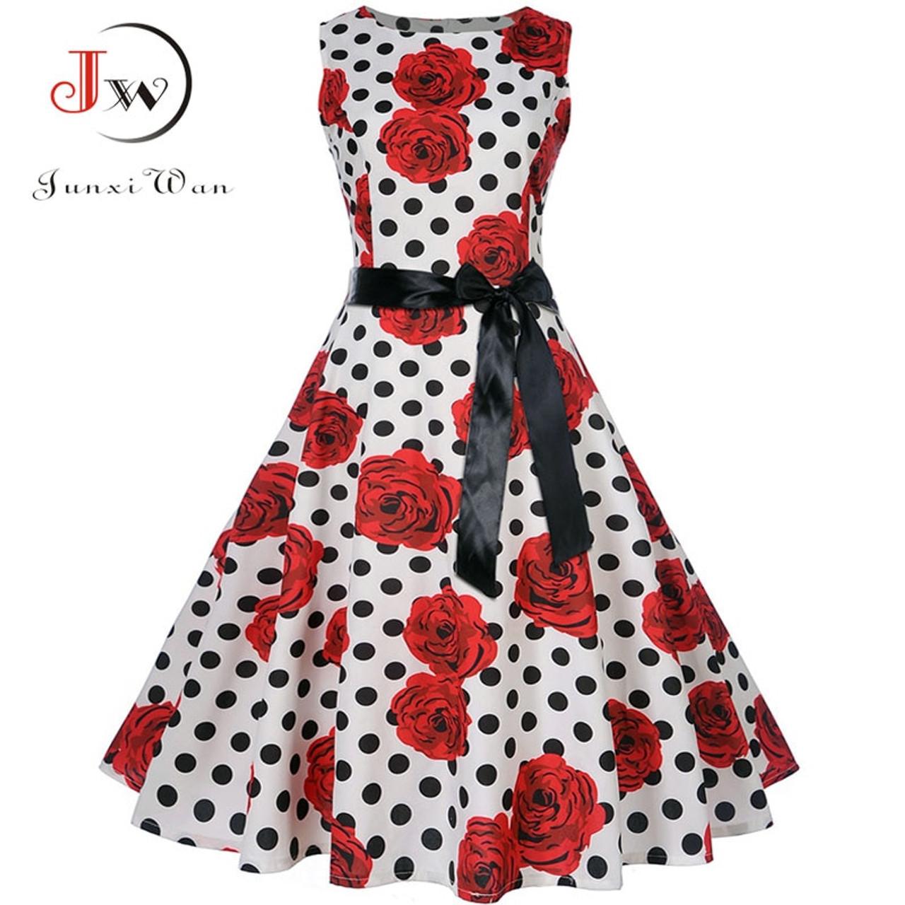 b9e3b31dc02 ... Plus Size Summer Dress 2018 Women Vintage Rockabilly Dresses Jurken  Floral 50s 60s Retro Big Swing