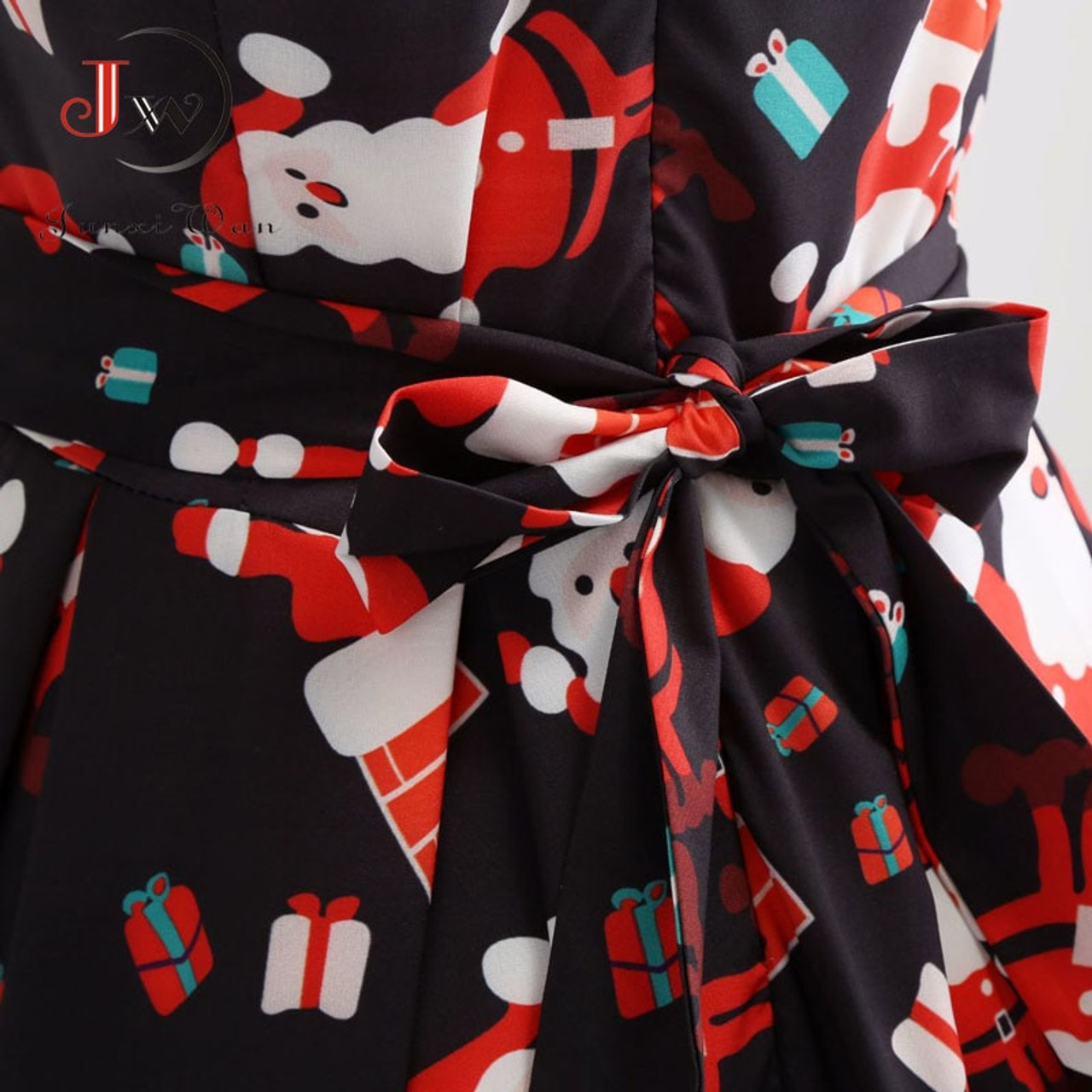c94b6d501f Vintage Dresses Women Casual Elegant Office Work Red Christmas Dress Retro  Hepburn O-neck Sleeveless Swing Party Dress Plus Size