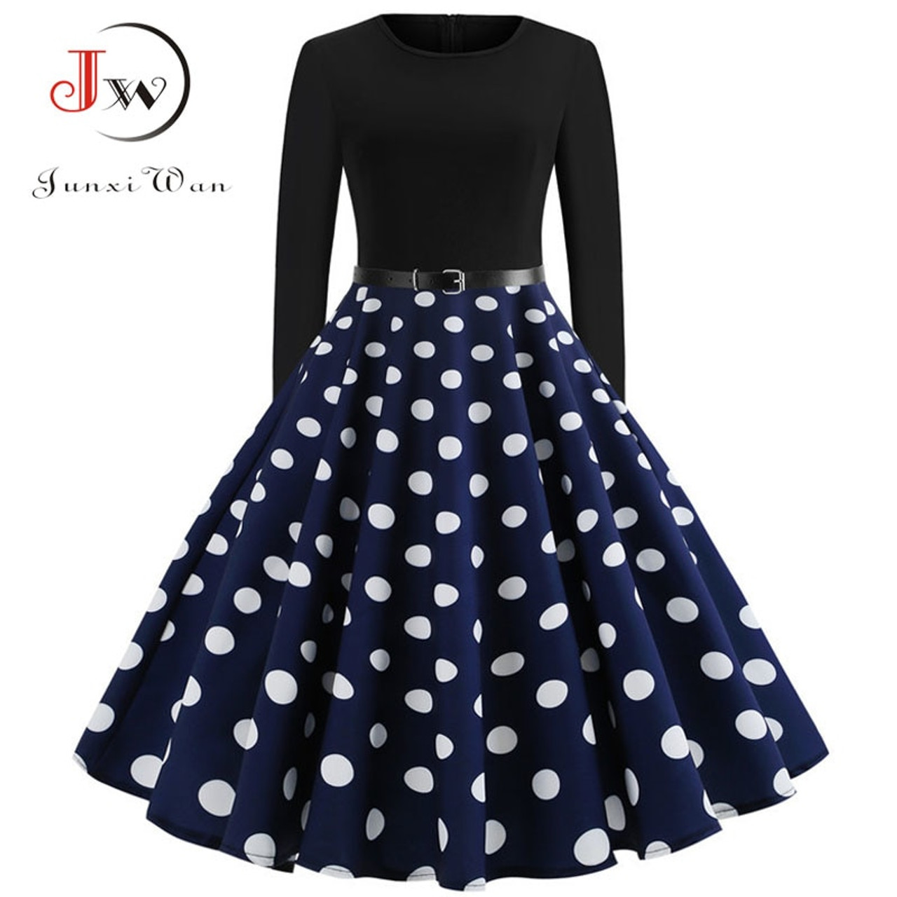 557f14e978227 Black Winter Dress Women Polka Dot Patchwork Elegant Vintage Dress Long  Sleeve Big Swing Plus Size Party Dresses Casual Chrismas