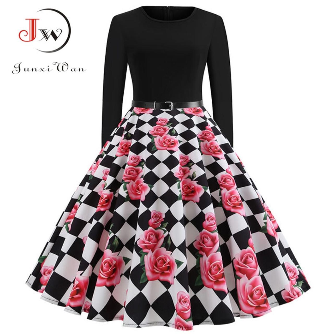 6835b1e87fa ... Black Winter Dress Women Polka Dot Patchwork Elegant Vintage Dress Long  Sleeve Big Swing Plus Size ...