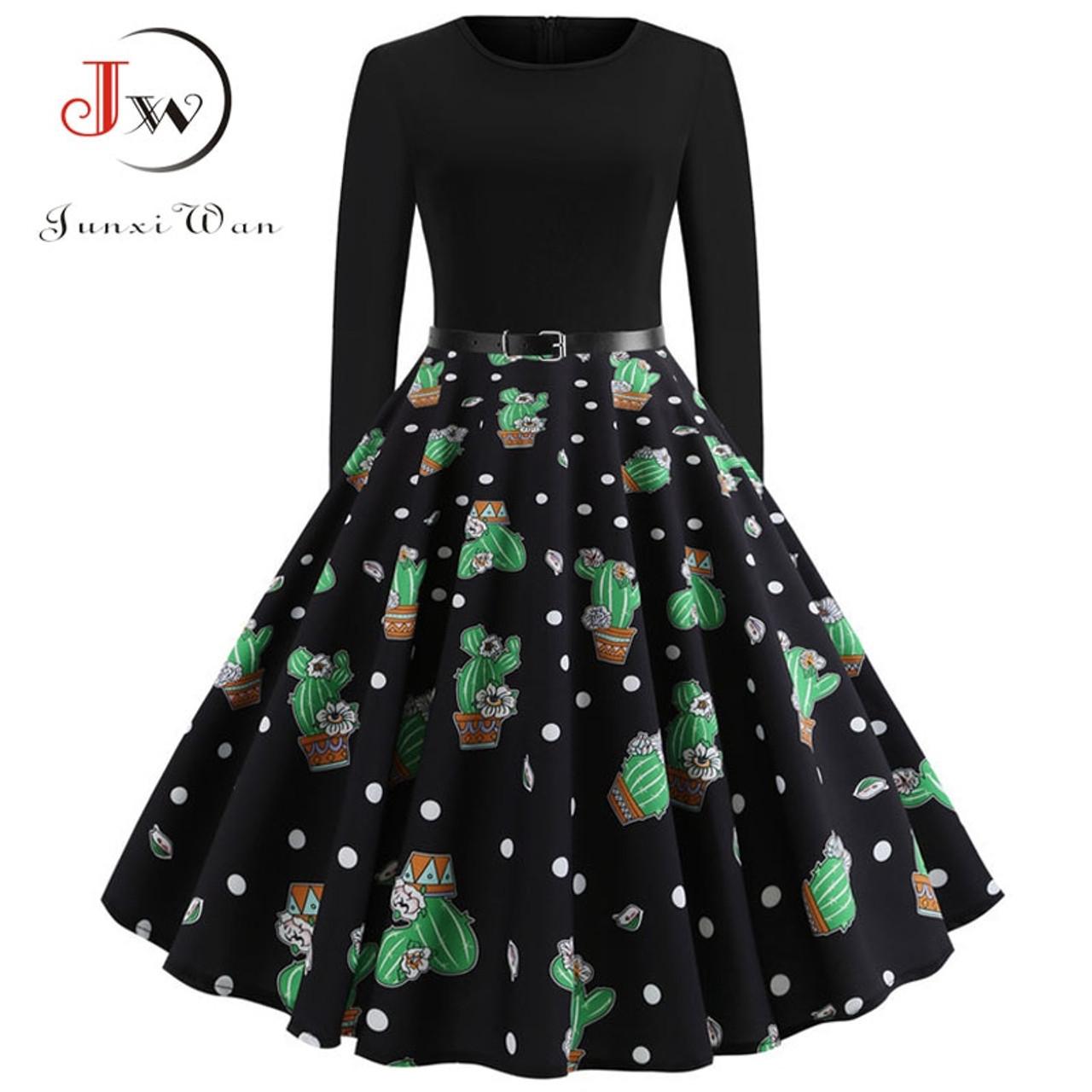 113b33b76af ... Black Winter Dress Women Polka Dot Patchwork Elegant Vintage Dress Long  Sleeve Big Swing Plus Size