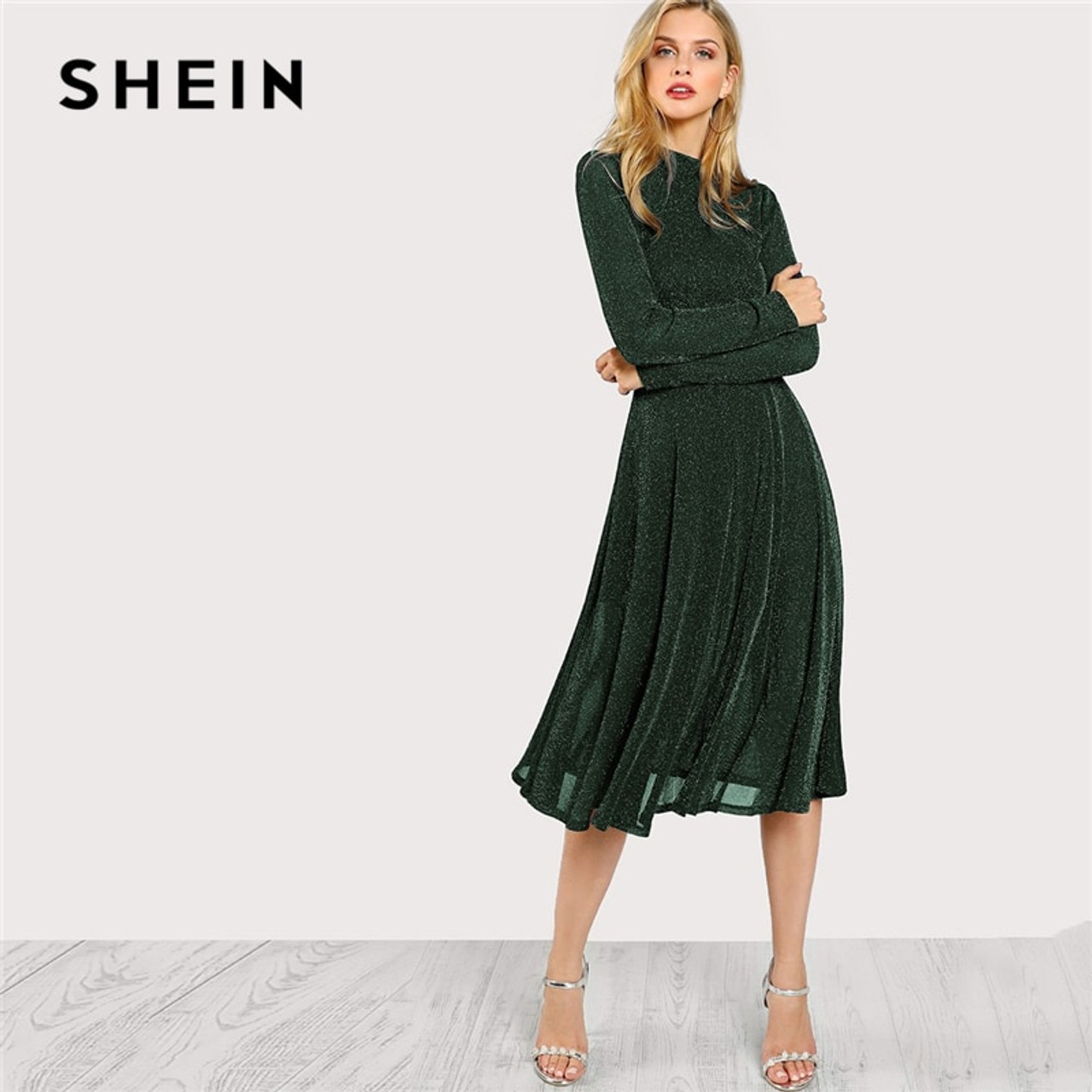 0e331e319c SHEIN Green Elegant Party Mock Neck Glitter Button Fit And Flare Solid  Natural Waist Dress 2018 ...