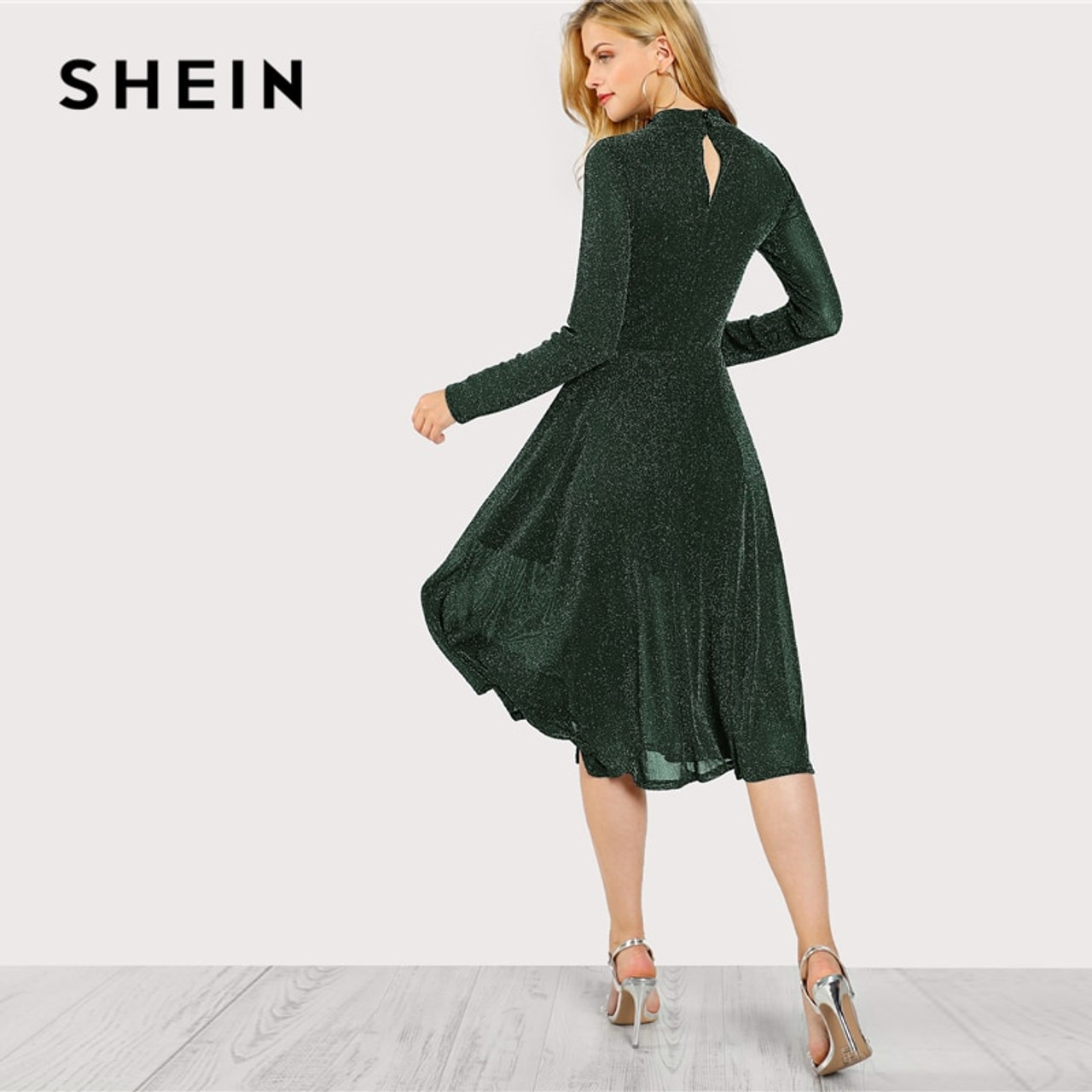 f83254a505 ... SHEIN Green Elegant Party Mock Neck Glitter Button Fit And Flare Solid  Natural Waist Dress 2018 ...