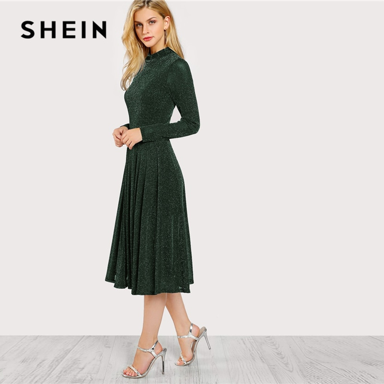 8bd9118529 ... SHEIN Green Elegant Party Mock Neck Glitter Button Fit And Flare Solid  Natural Waist Dress 2018 ...