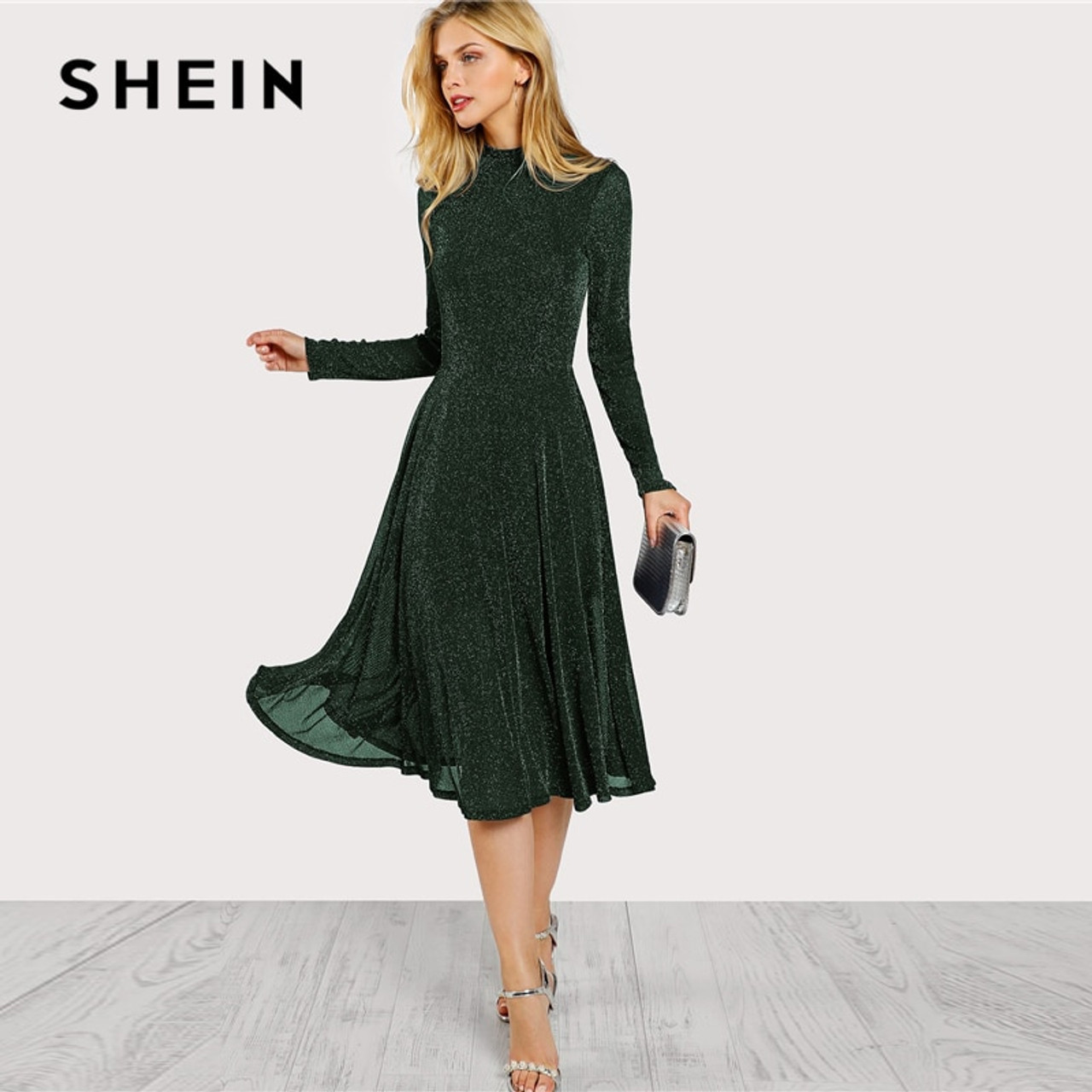 6a1f84867635e ... SHEIN Green Elegant Party Mock Neck Glitter Button Fit And Flare Solid  Natural Waist Dress 2018 ...